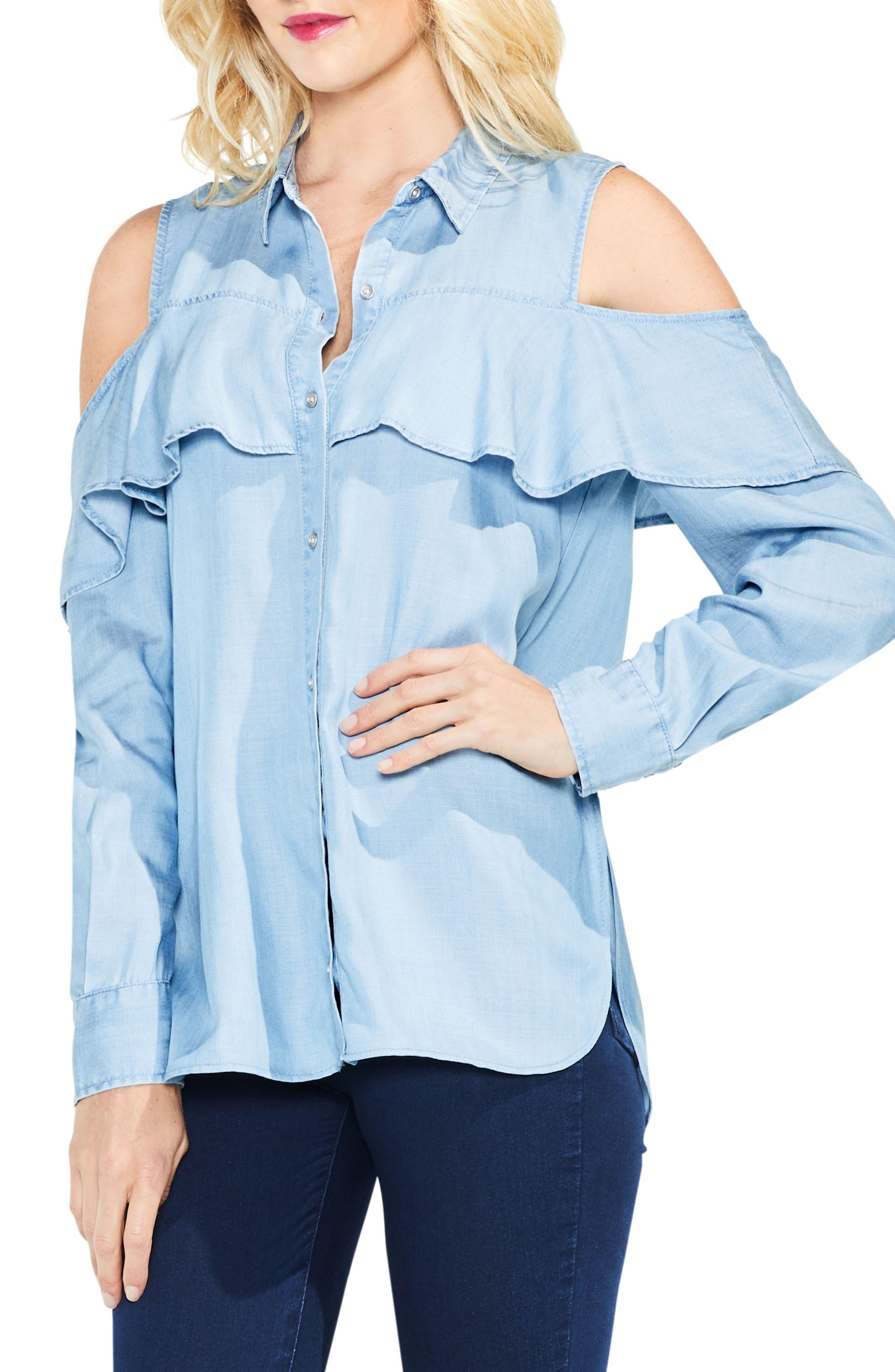 Cold Shoulder Ruffled Chambray Shirt,                             Main thumbnail 1, color,                             410