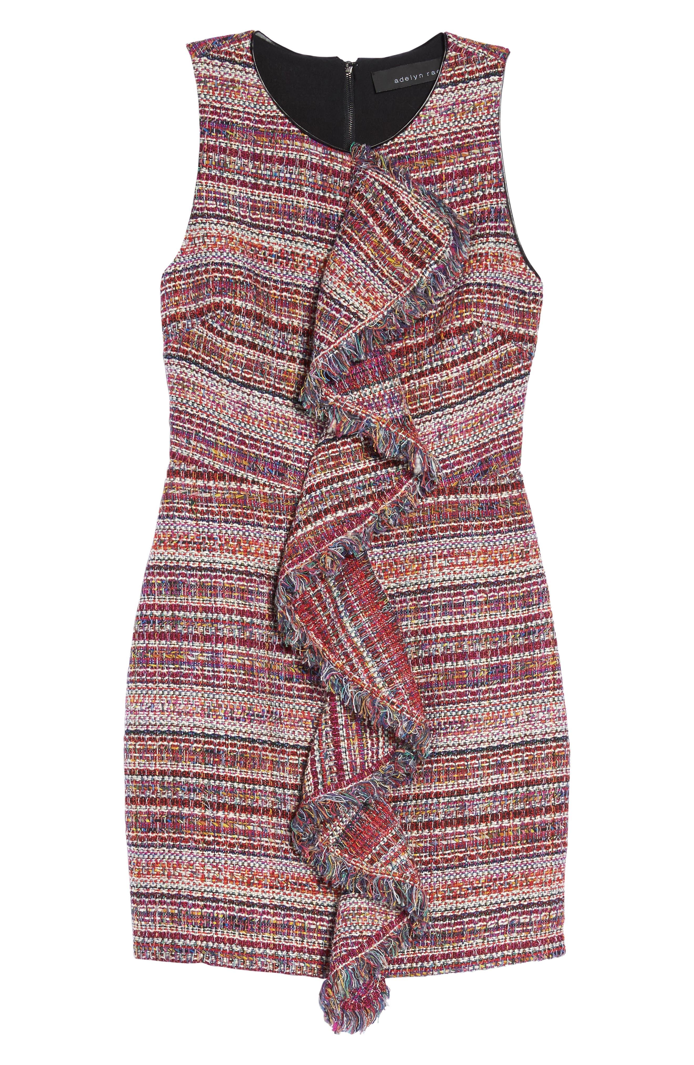 Jamie Ruffle Jacquard Sheath Dress,                             Alternate thumbnail 6, color,                             510