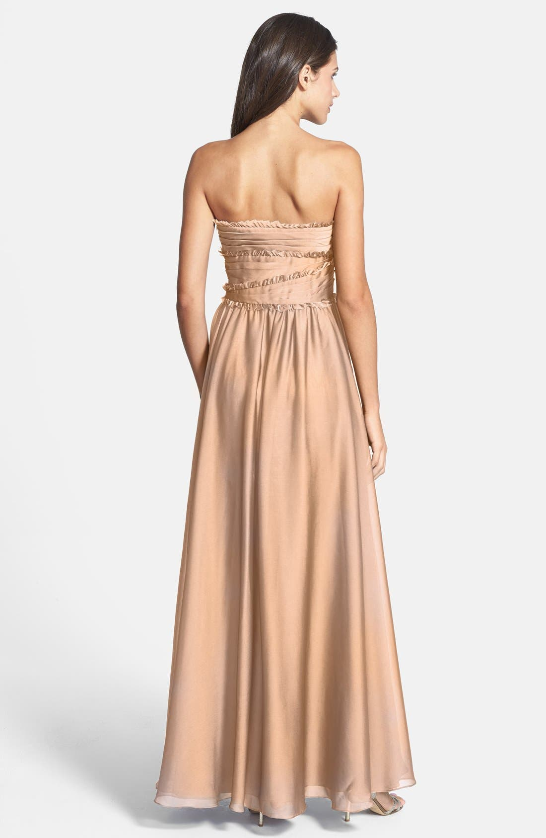 ML Monique Lhuillier Bridesmaids Strapless Chiffon Gown,                             Alternate thumbnail 57, color,