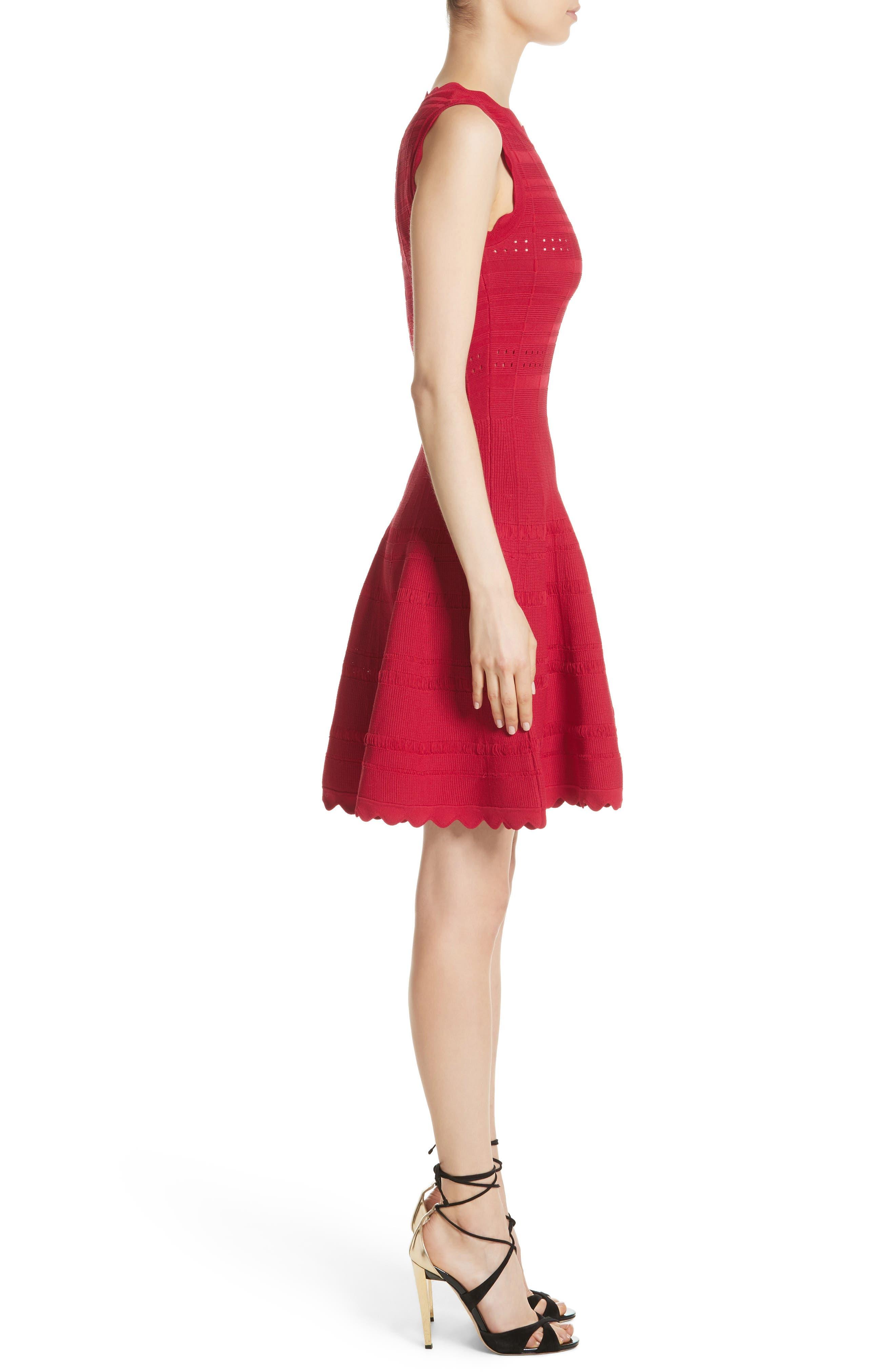 Scallop Trim Knit Dress,                             Alternate thumbnail 3, color,                             620
