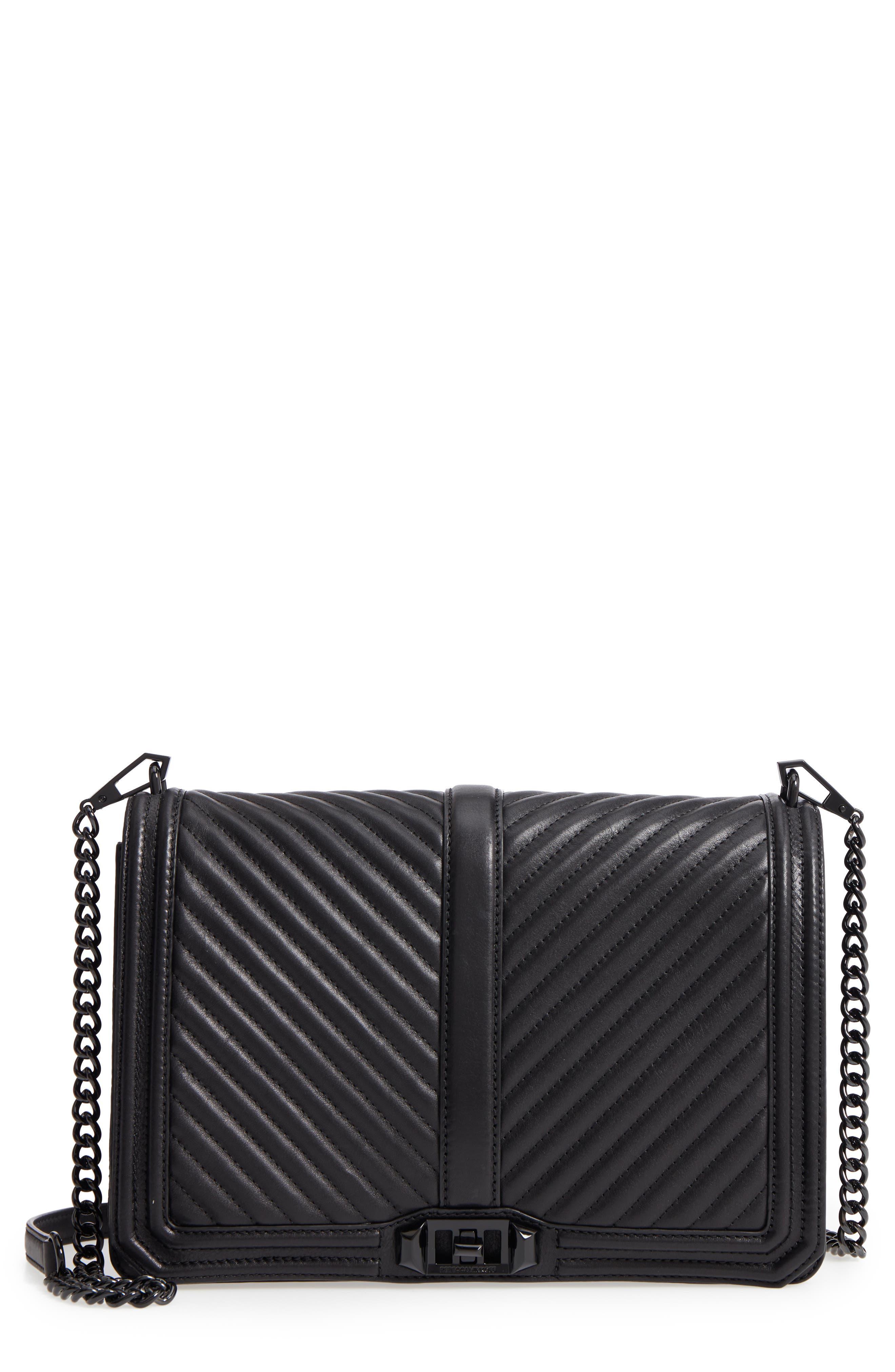 'Love Jumbo' Crossbody Bag,                         Main,                         color, JET BLACK
