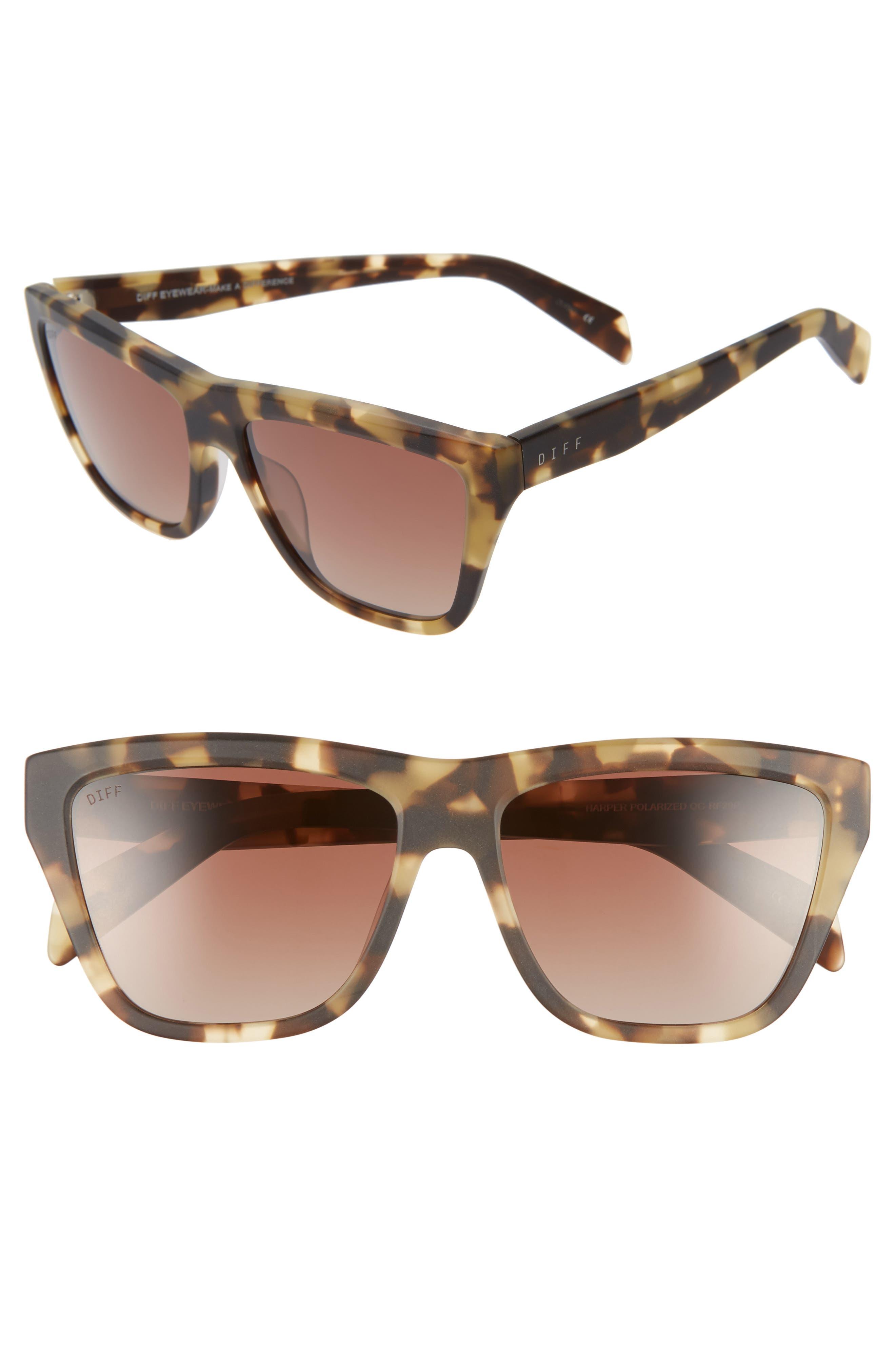 Harper 57mm Polarized Gradient Sunglasses,                         Main,                         color, HAVANA/ BROWN