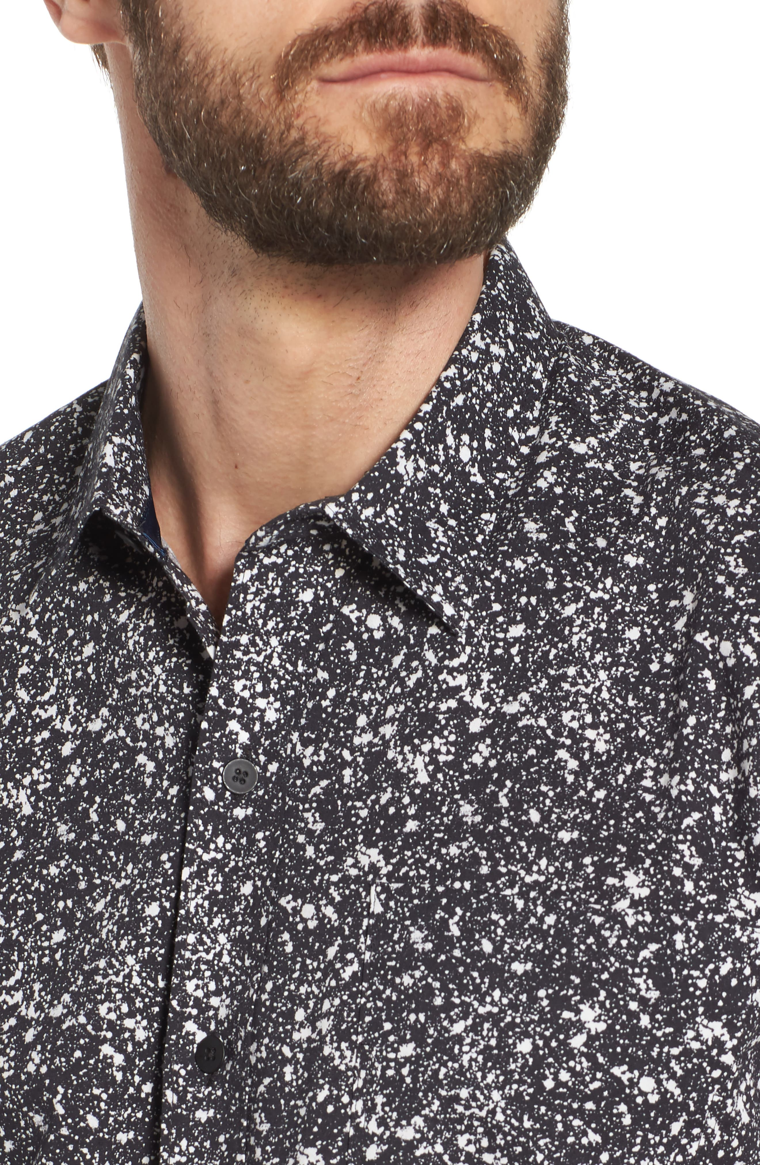 Slim Fit Splatter Sport Shirt,                             Alternate thumbnail 4, color,                             090
