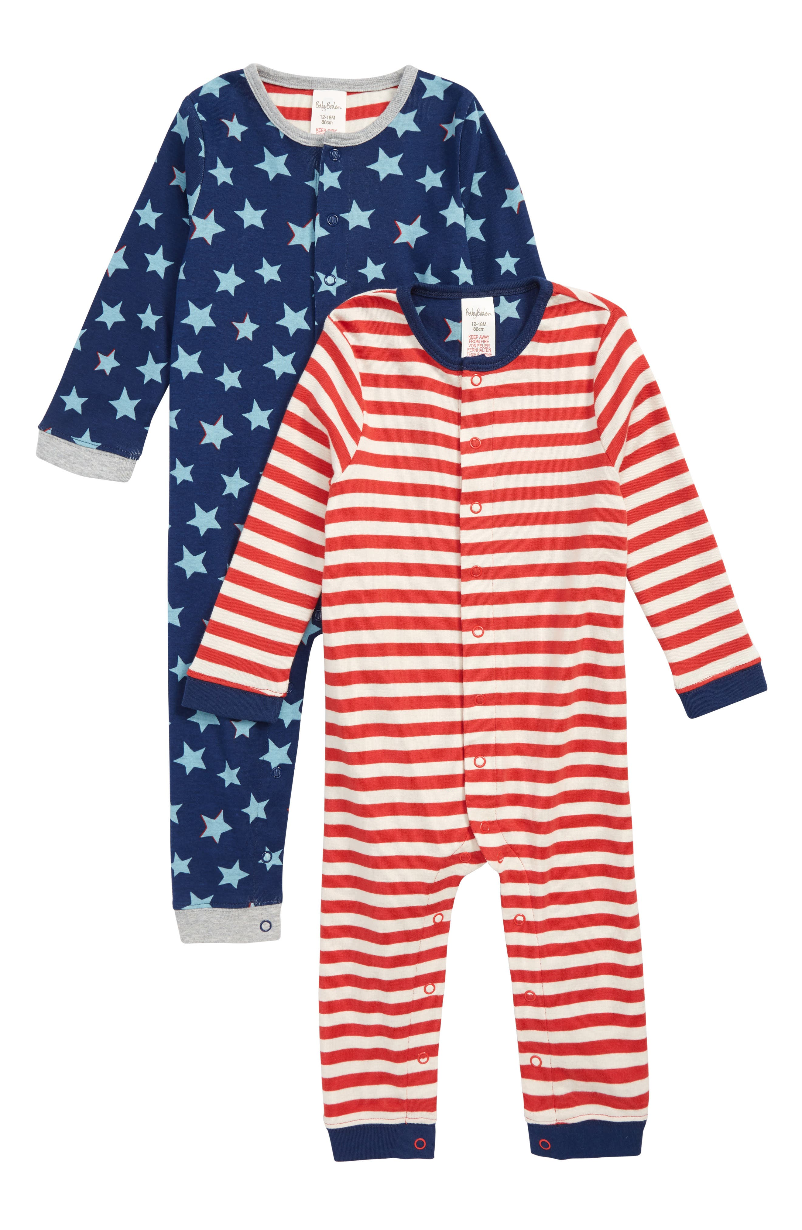 MINI BODEN,                             2-Pack Rompers,                             Main thumbnail 1, color,                             404