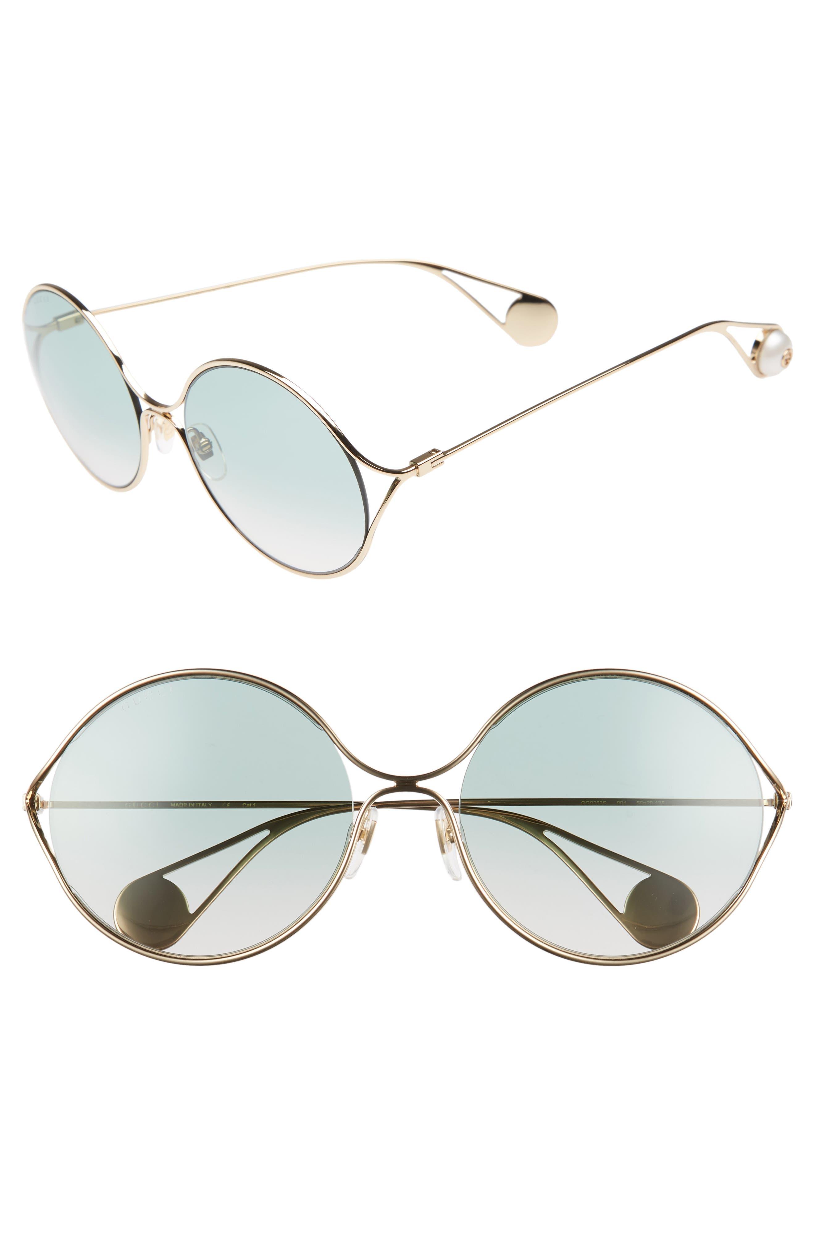 58mm Gradient Lens Round Sunglasses,                         Main,                         color, GOLD/ SAGE/ PINK