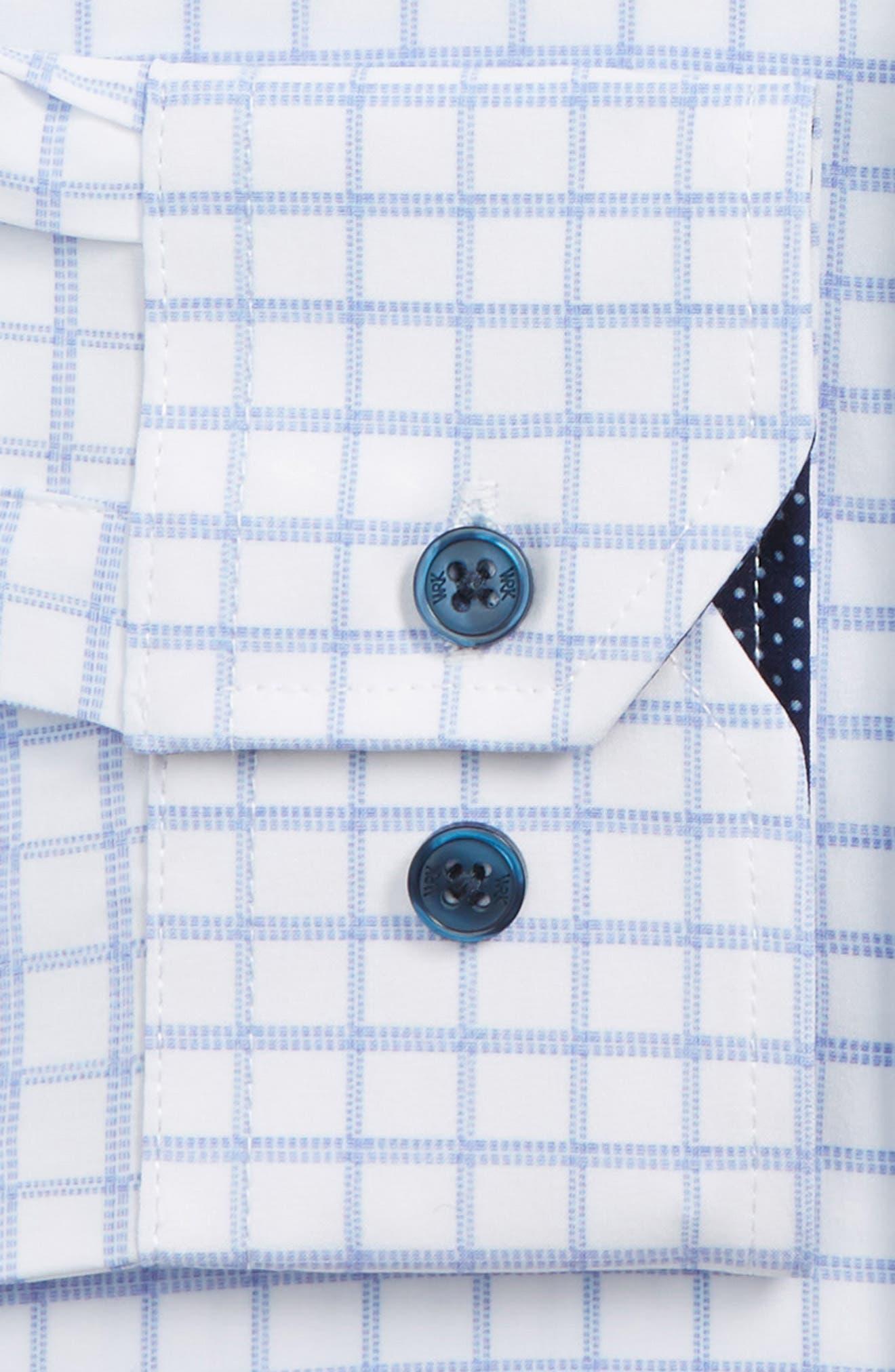 Trim Fit 4-Way Stretch Check Dress Shirt,                             Alternate thumbnail 6, color,                             WHITE