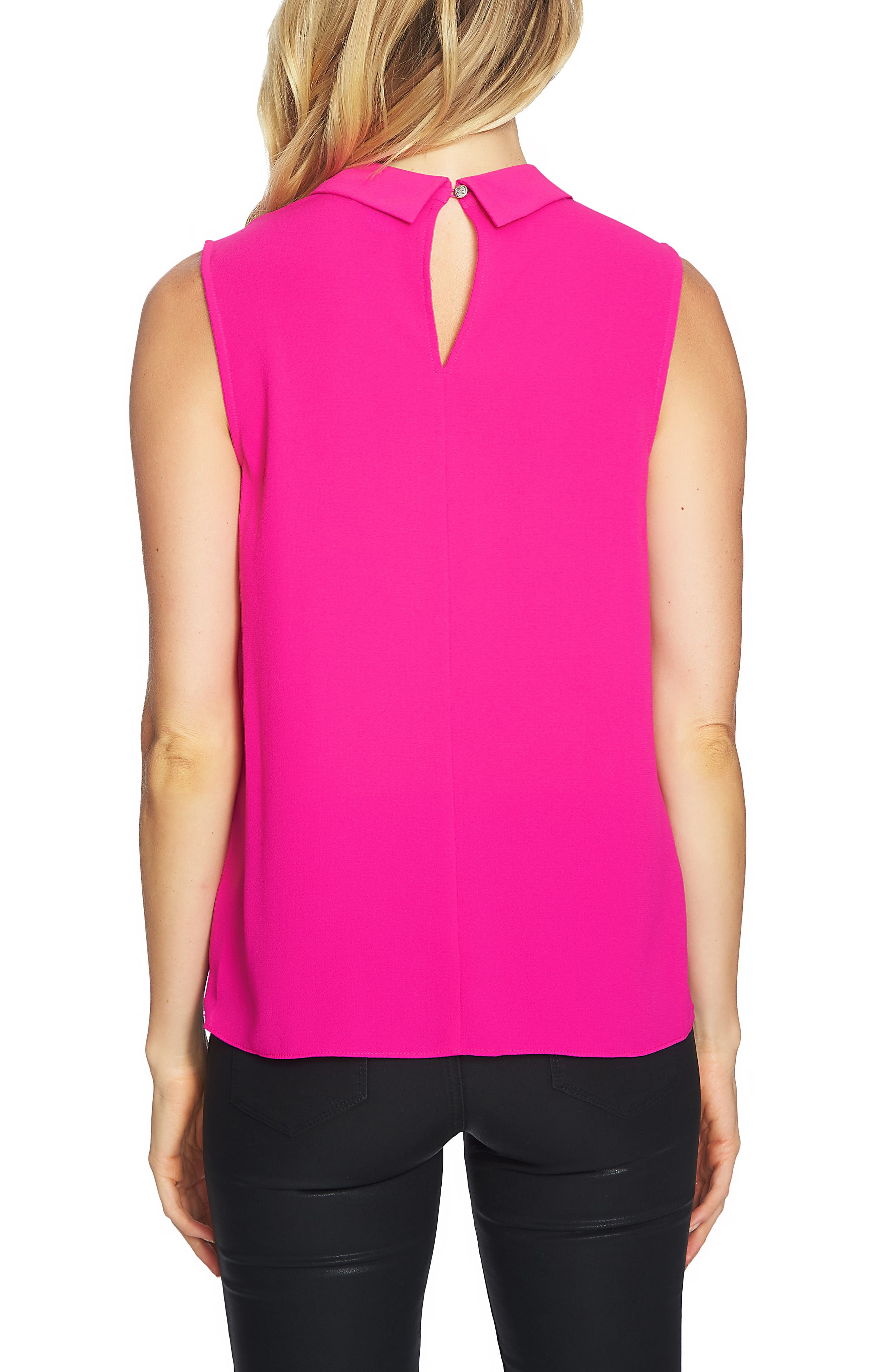 Collared Pleat Front Blouse,                             Alternate thumbnail 2, color,                             HOT MAGENTA