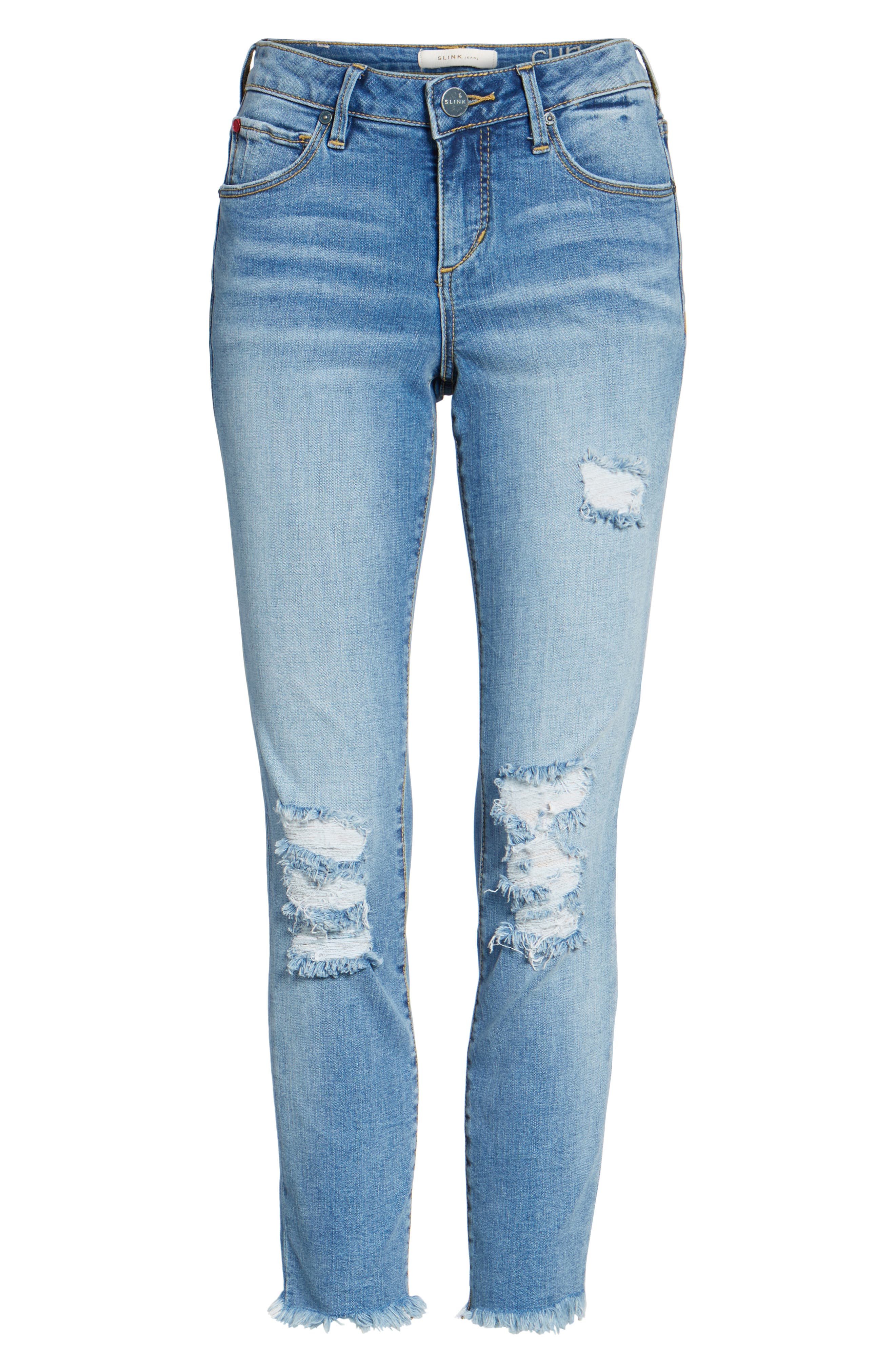 Frayed Hem Ankle Jeans,                             Alternate thumbnail 6, color,                             EDEN