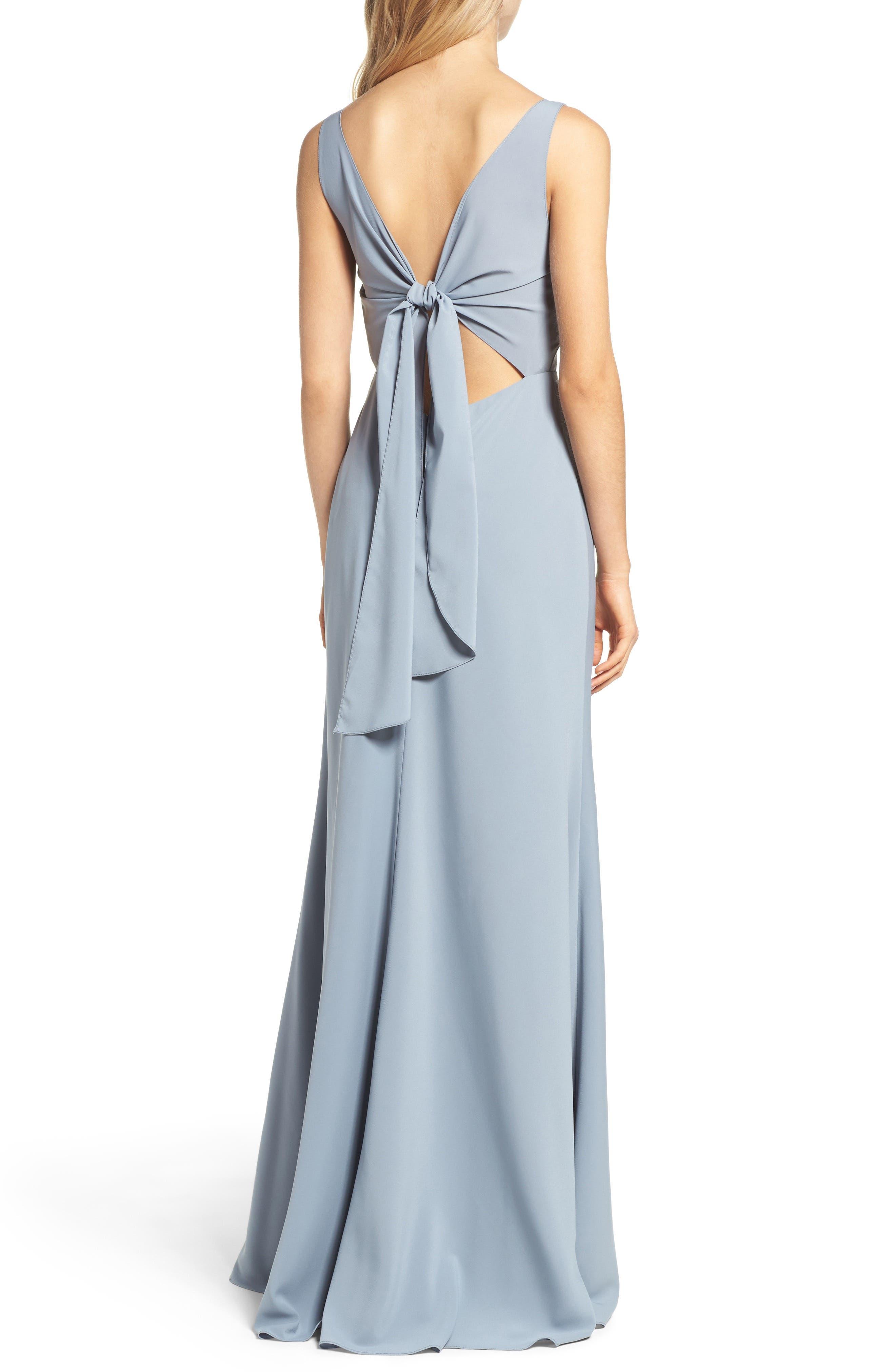 Delaney Tie Back V-Neck Gown,                             Alternate thumbnail 2, color,                             450