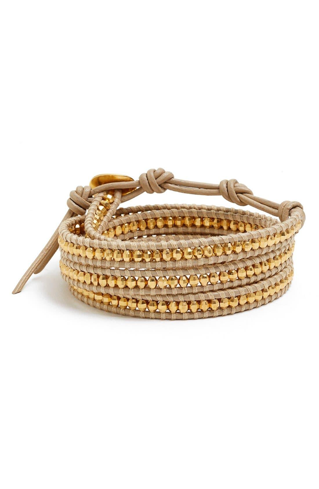 CHAN LUU Evil Eye Charm Beaded Leather Wrap Bracelet, Main, color, 710
