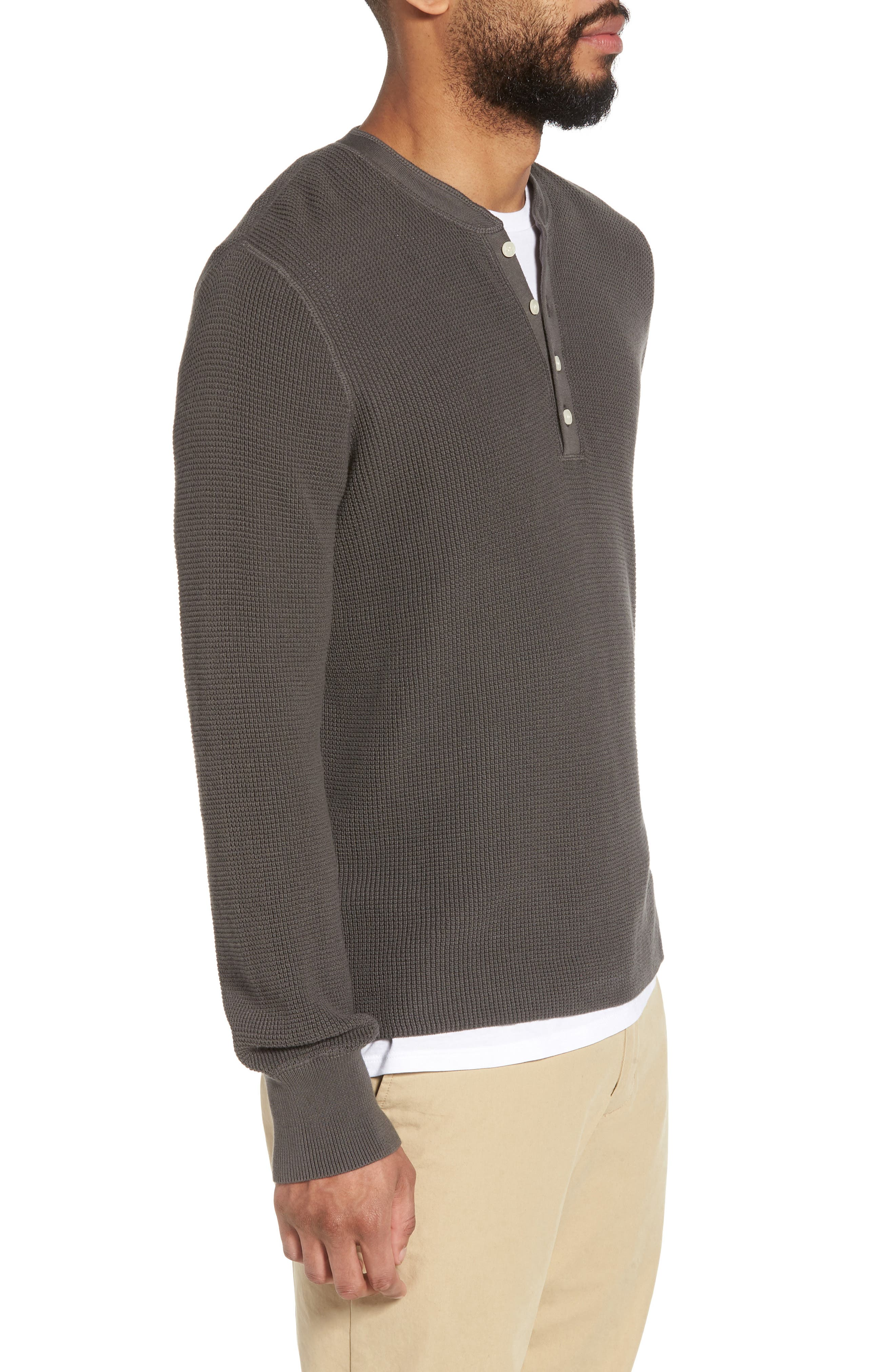 Slim Fit Thermal Henley,                             Alternate thumbnail 3, color,                             020