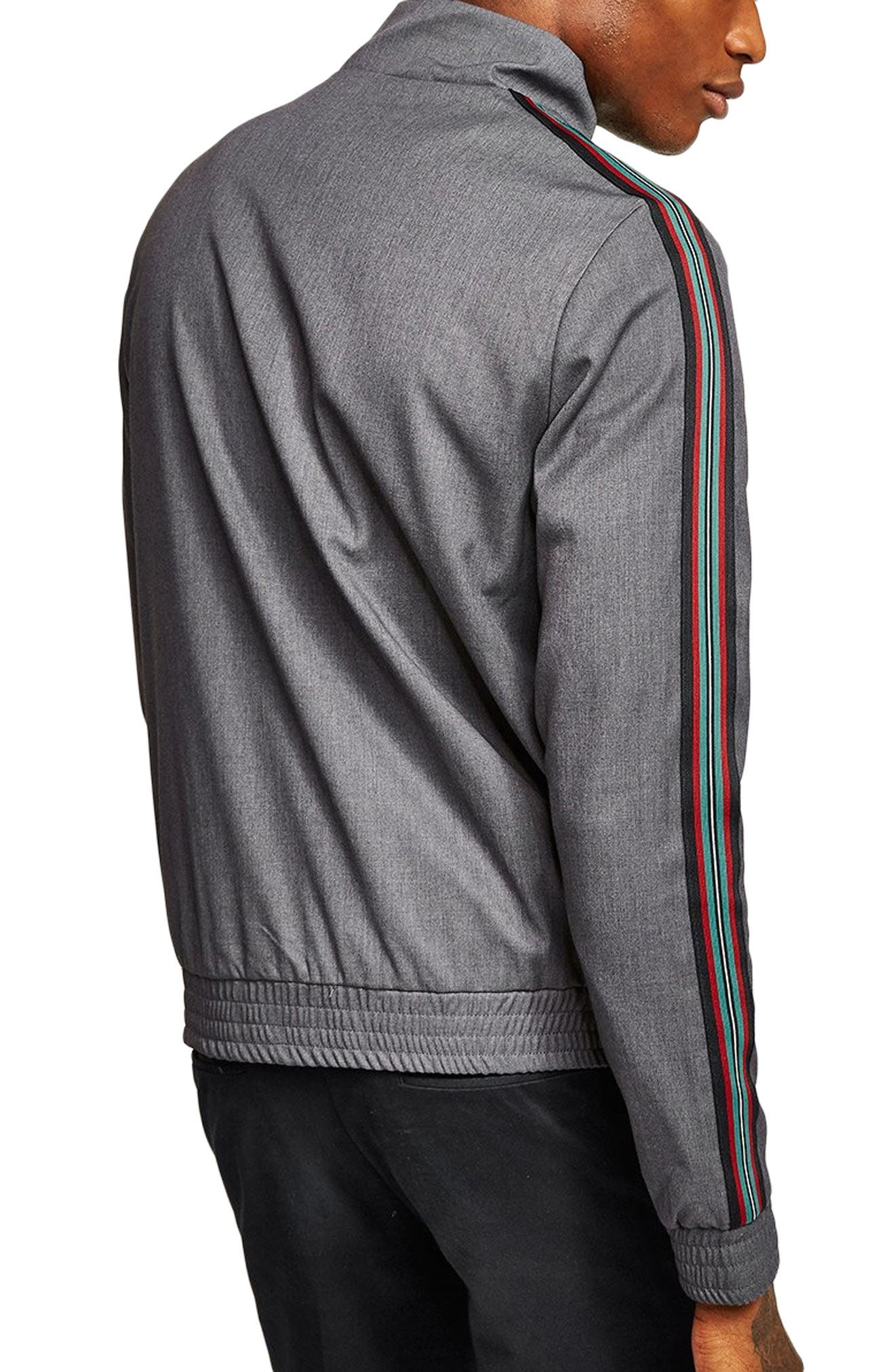 Mélange Stripe Track Jacket,                             Alternate thumbnail 2, color,                             GREY MULTI