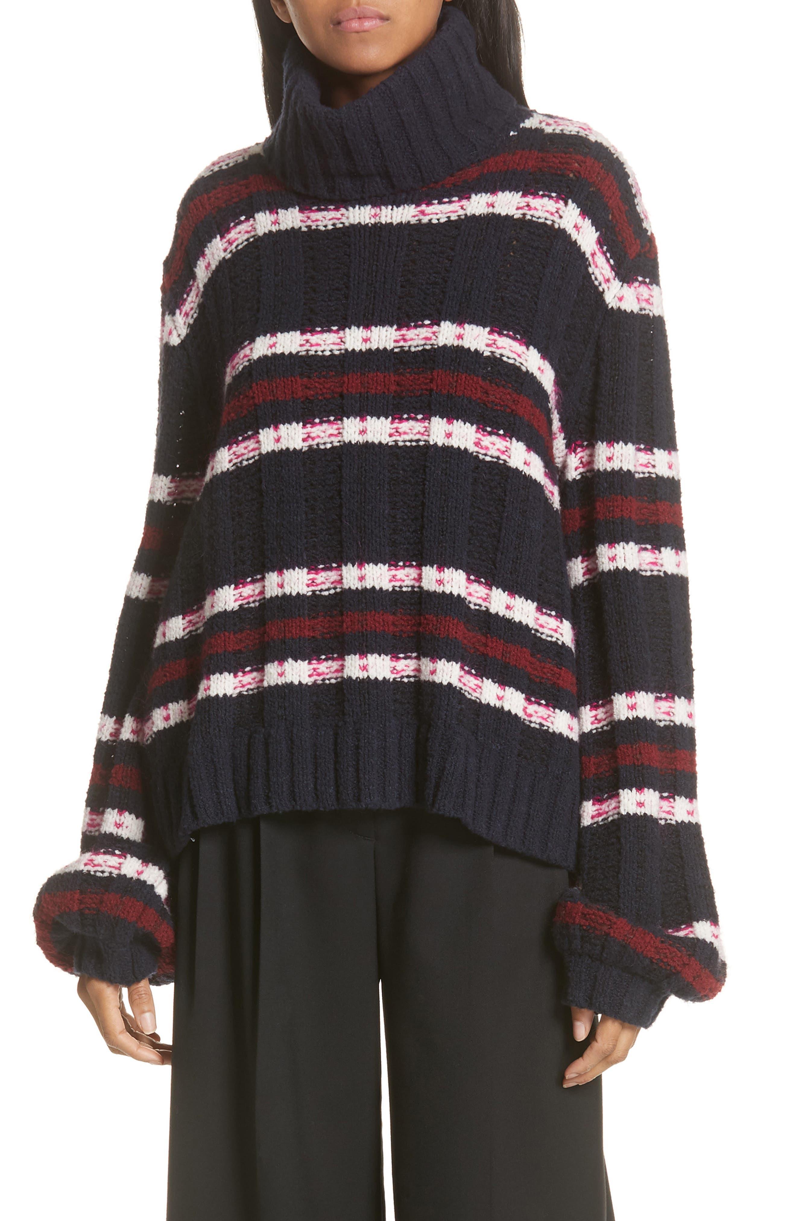 Zaira Stripe Turtleneck Sweater, Main, color, 001