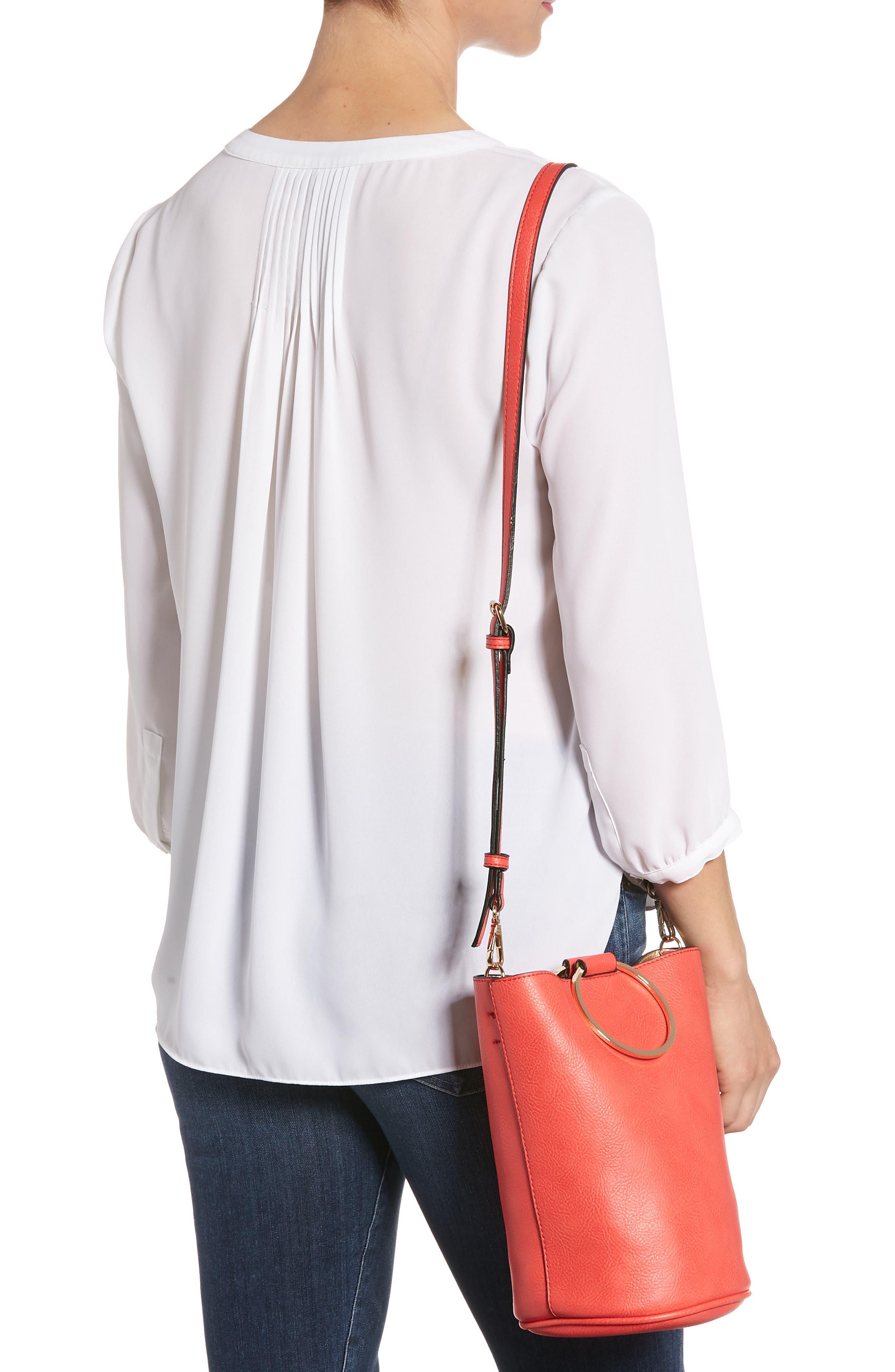 Mali + Lili Ilia Vegan Leather Ring Handle Bucket Bag,                             Alternate thumbnail 6, color,