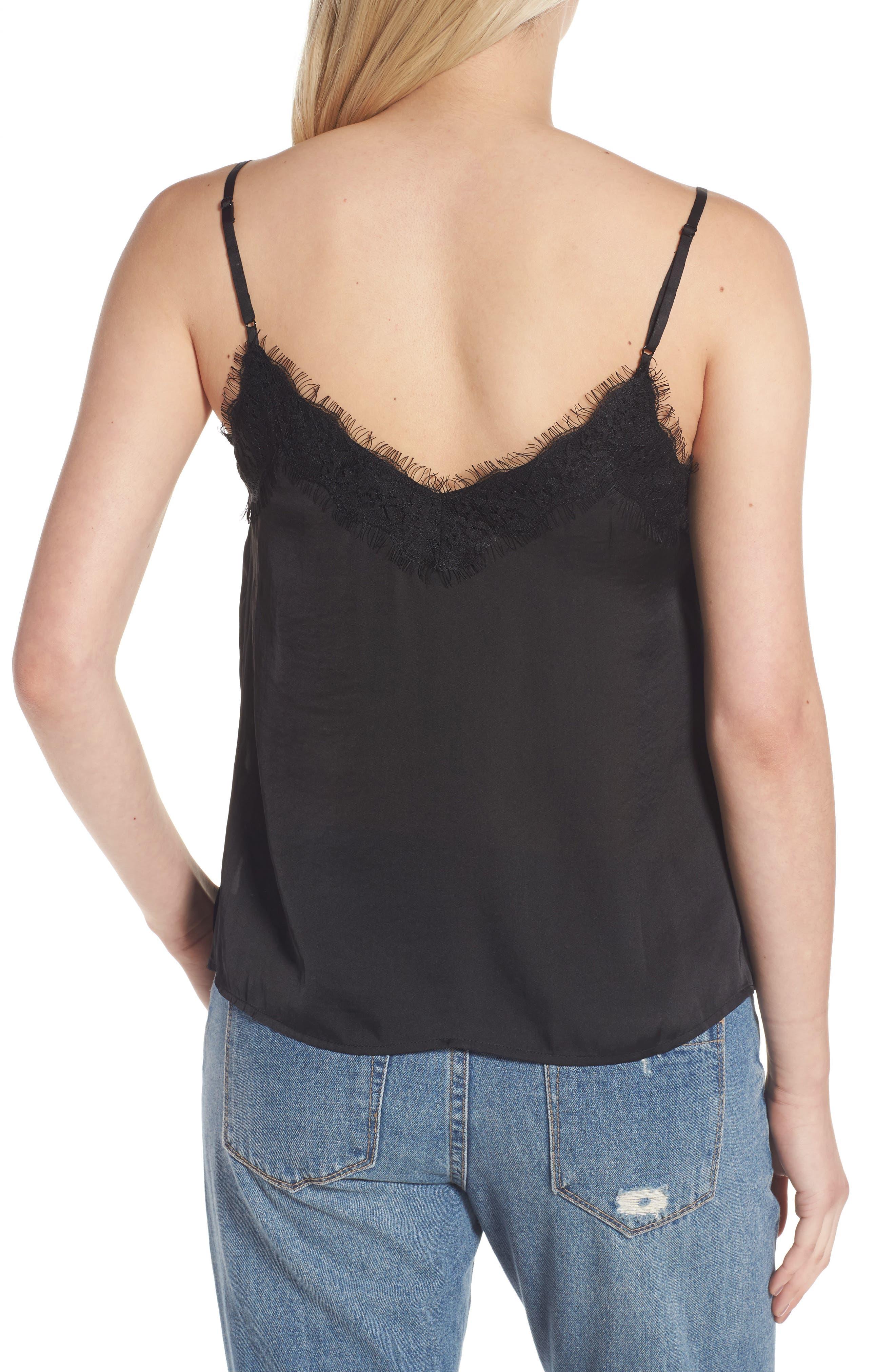 Lace Trim Satin Camisole,                             Alternate thumbnail 2, color,                             BLACK