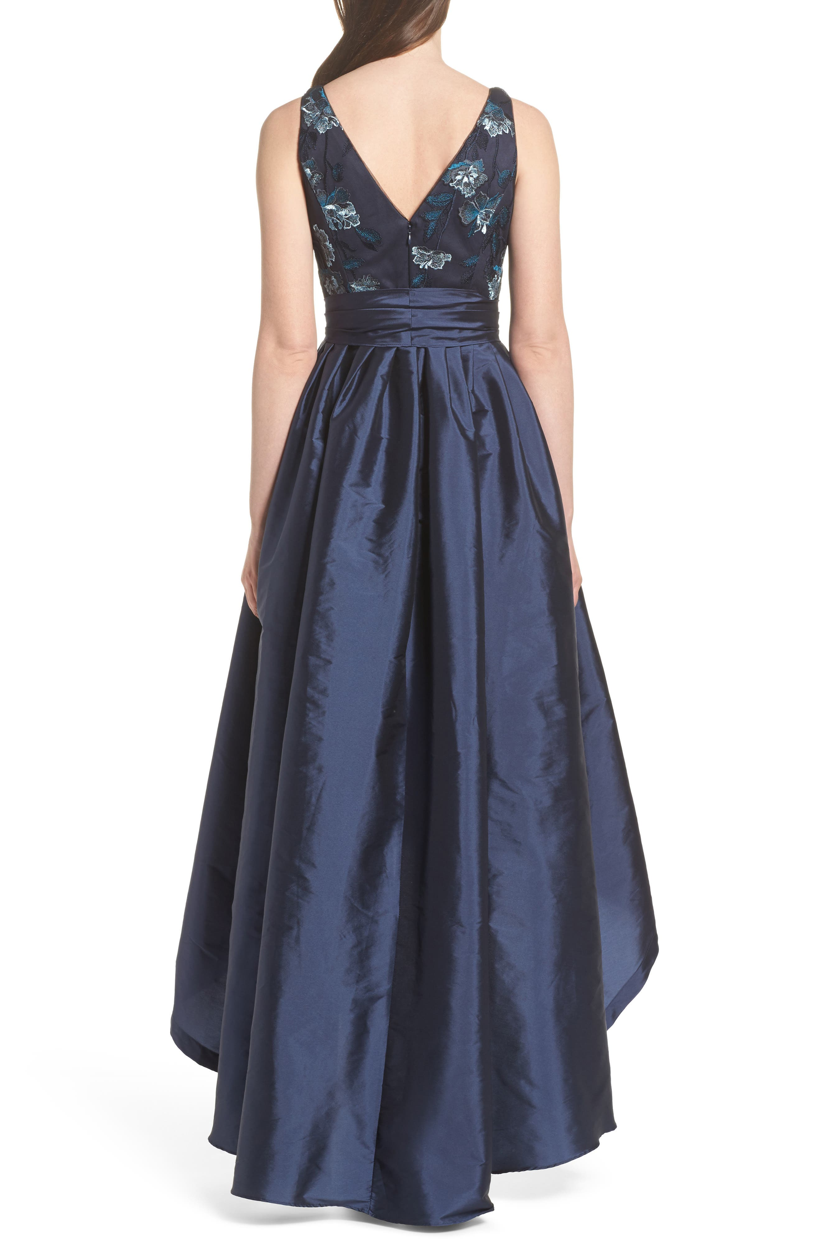 Embroidered Taffeta High/Low Gown,                             Alternate thumbnail 2, color,
