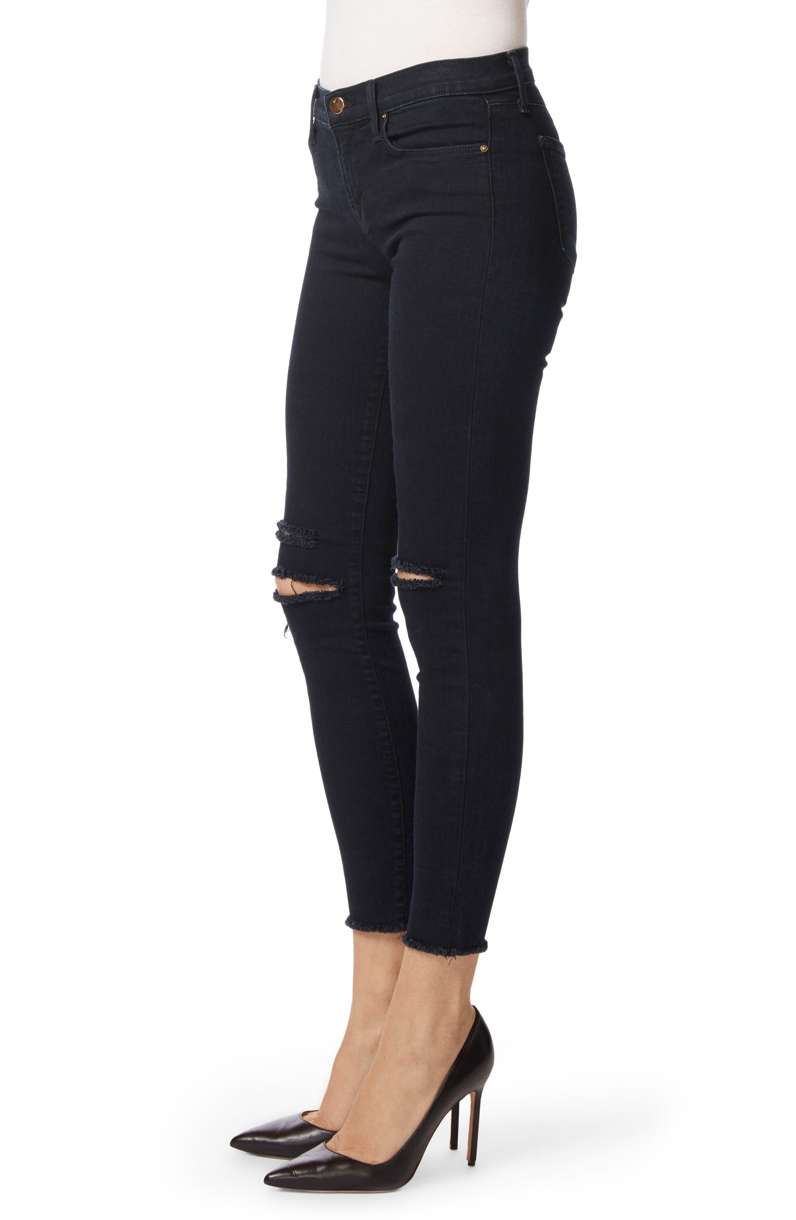 8227 Destroyed Crop Skinny Ankle Jeans,                             Alternate thumbnail 4, color,                             407