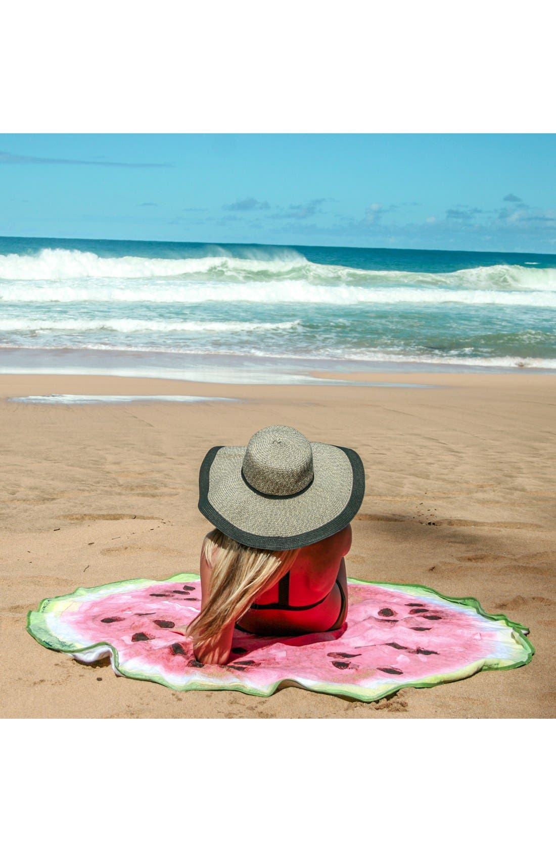 Watermelon Round Beach Towel,                             Alternate thumbnail 2, color,                             600