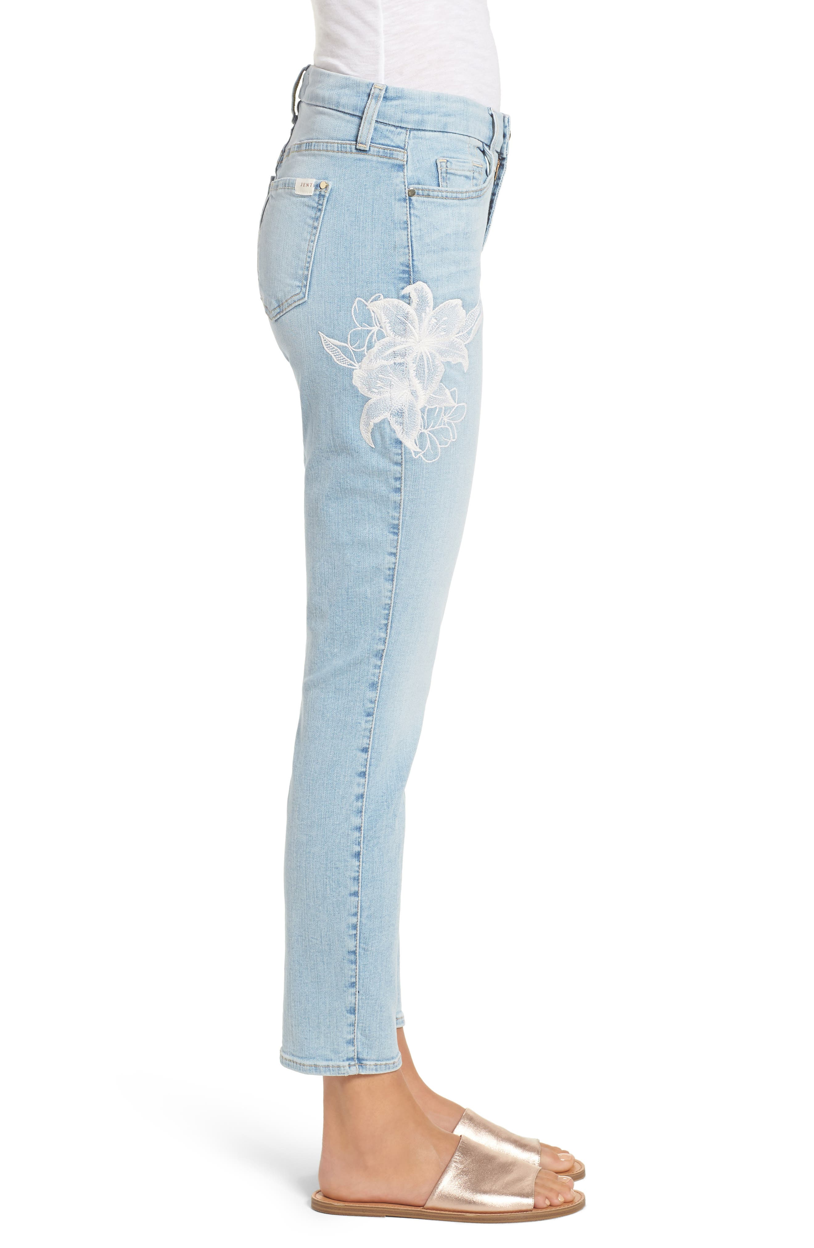 Jen 7 Embroidered Stretch Sklnny Ankle Jeans,                             Alternate thumbnail 3, color,                             RICHE TOUCH PLAYA VISTA