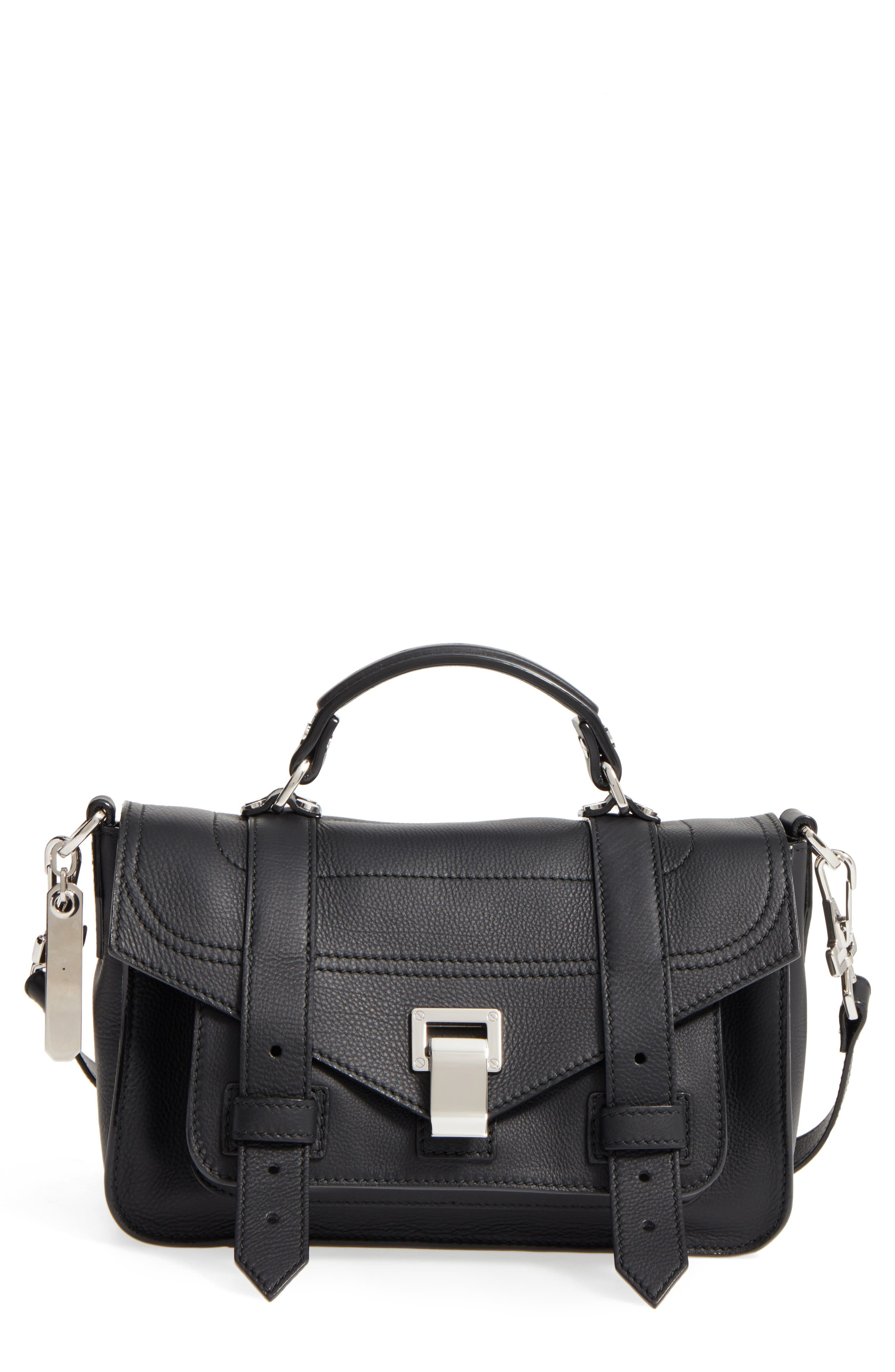 Tiny PS1+ Grainy Leather Satchel,                         Main,                         color, BLACK