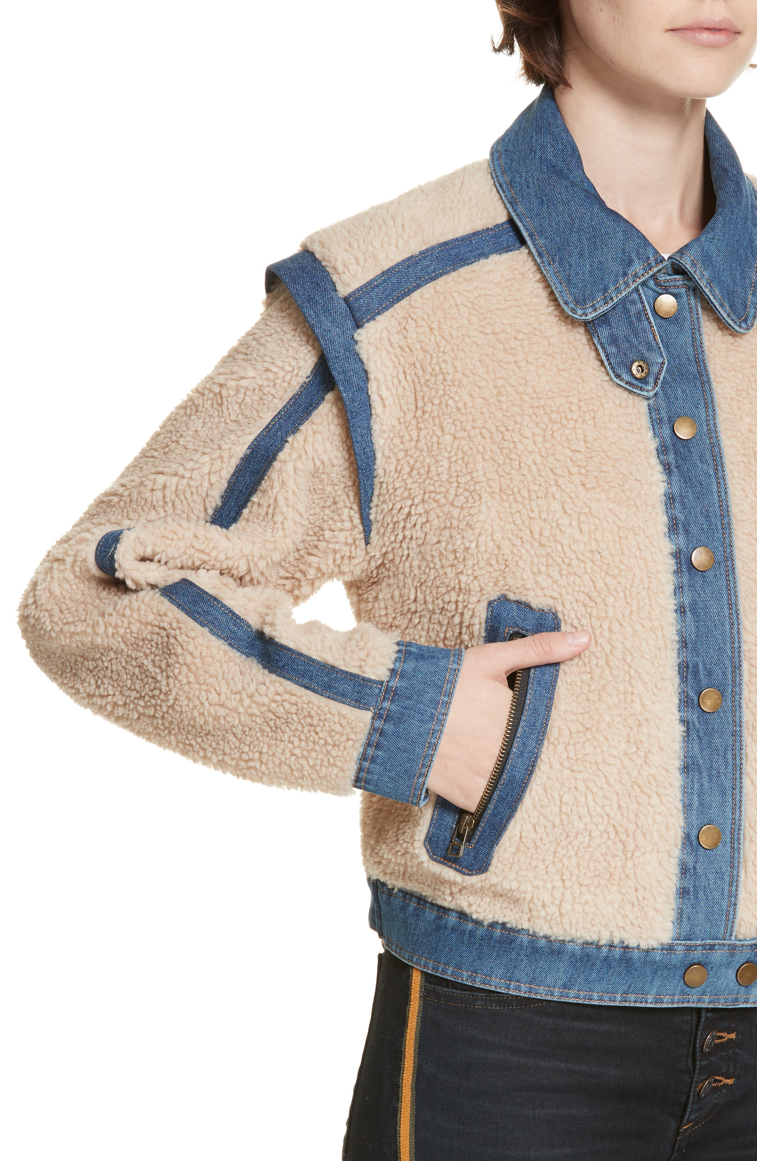 Potter Fleece & Denim Jacket,                             Alternate thumbnail 4, color,                             OATMEAL