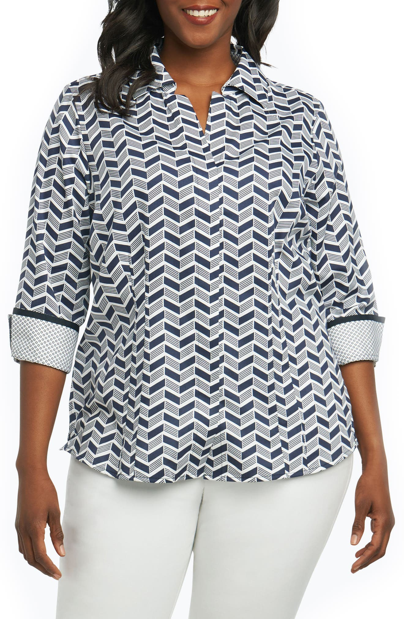 Taylor Chevron Non Iron Cotton Shirt,                             Main thumbnail 1, color,