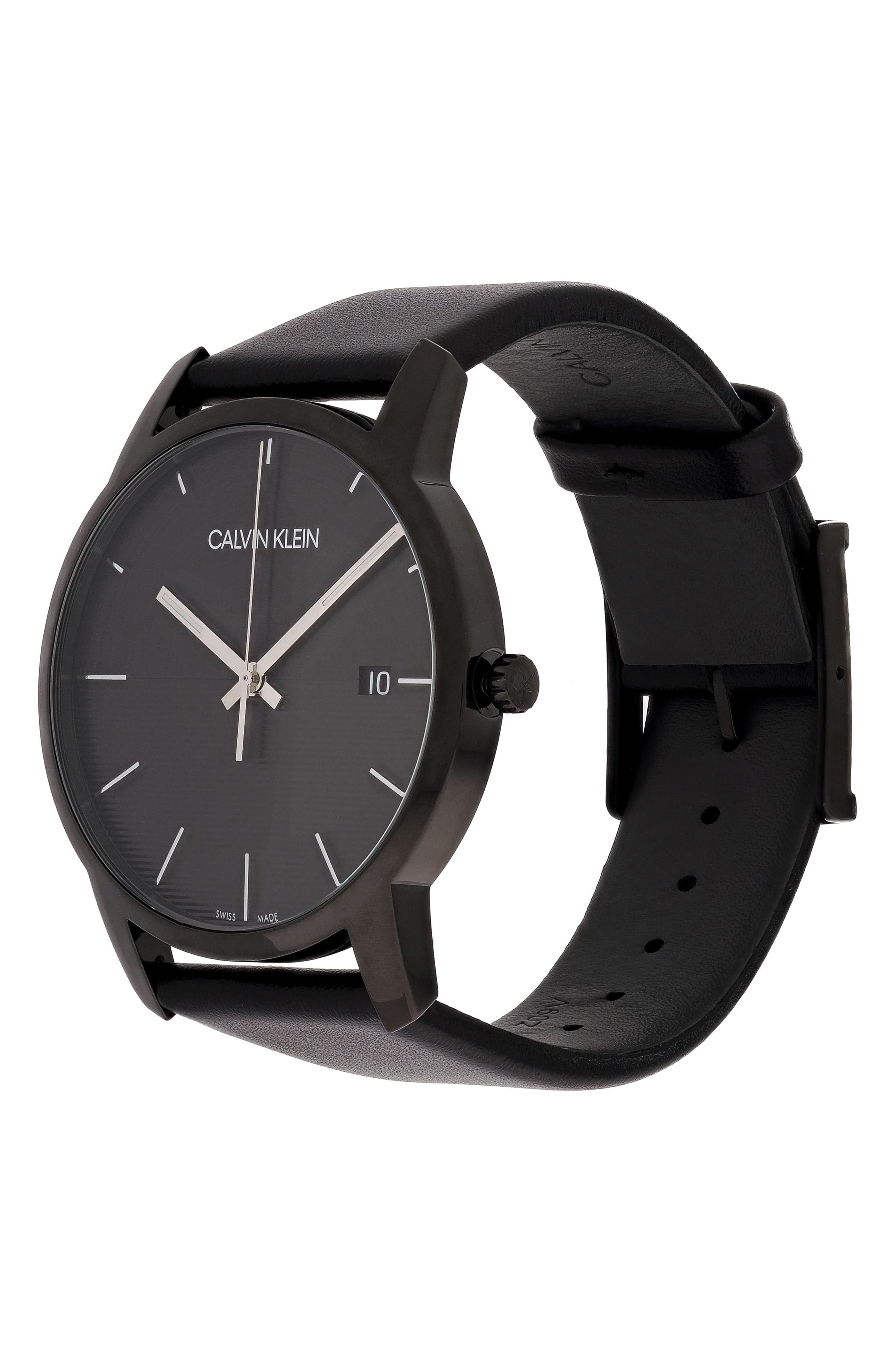 City Leather Strap Watch, 43mm,                             Alternate thumbnail 4, color,                             BLACK