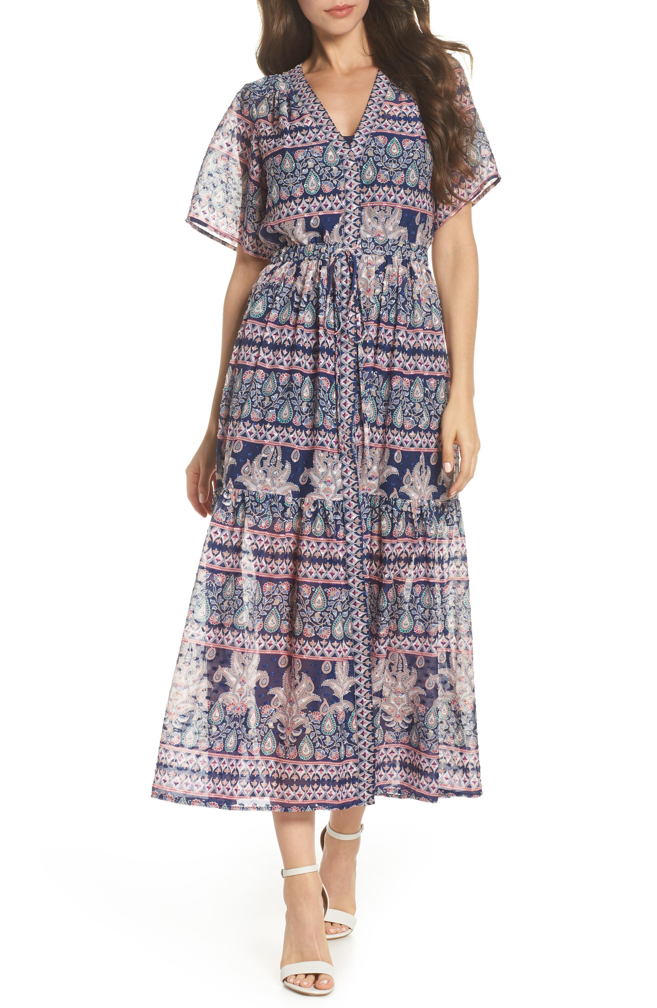 Print V-Neck Fil Coupé Dress,                         Main,                         color, 410