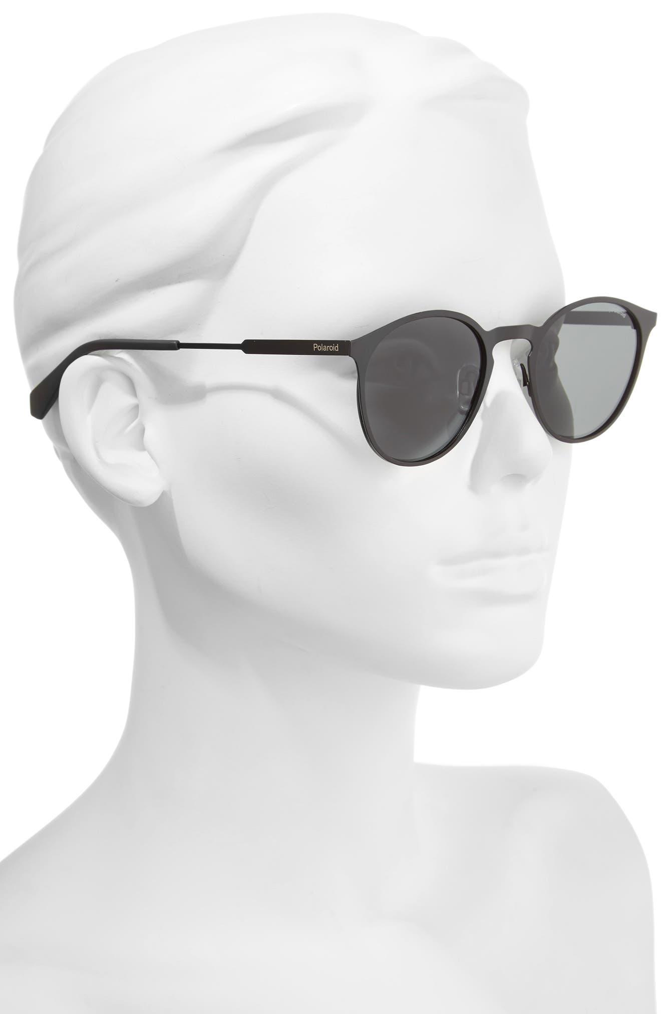 POLAROID EYEWEAR,                             Polaroid 50mm Round Polarized Sunglasses,                             Alternate thumbnail 2, color,                             002