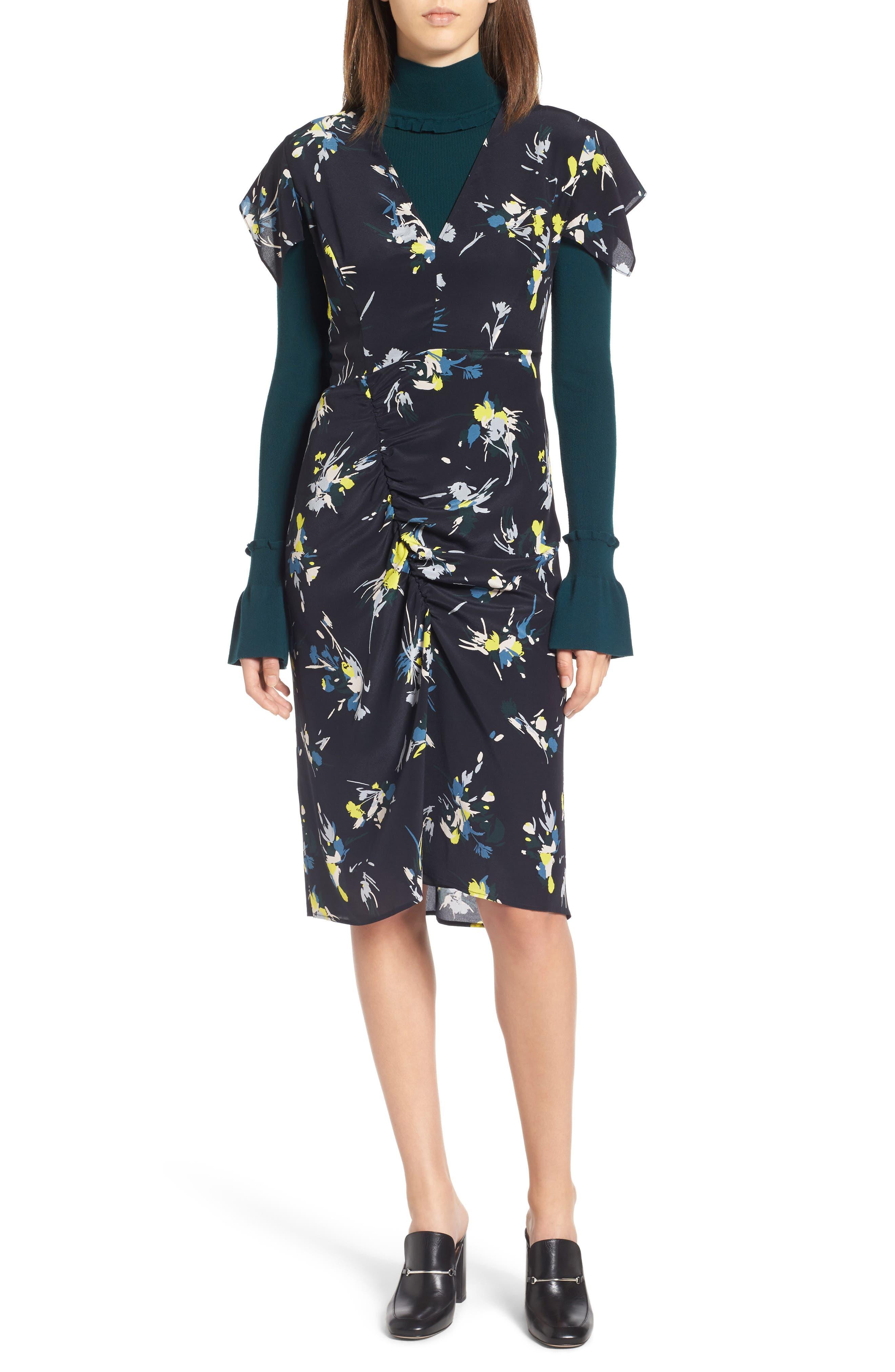 Print Silk Dress,                             Alternate thumbnail 4, color,                             410