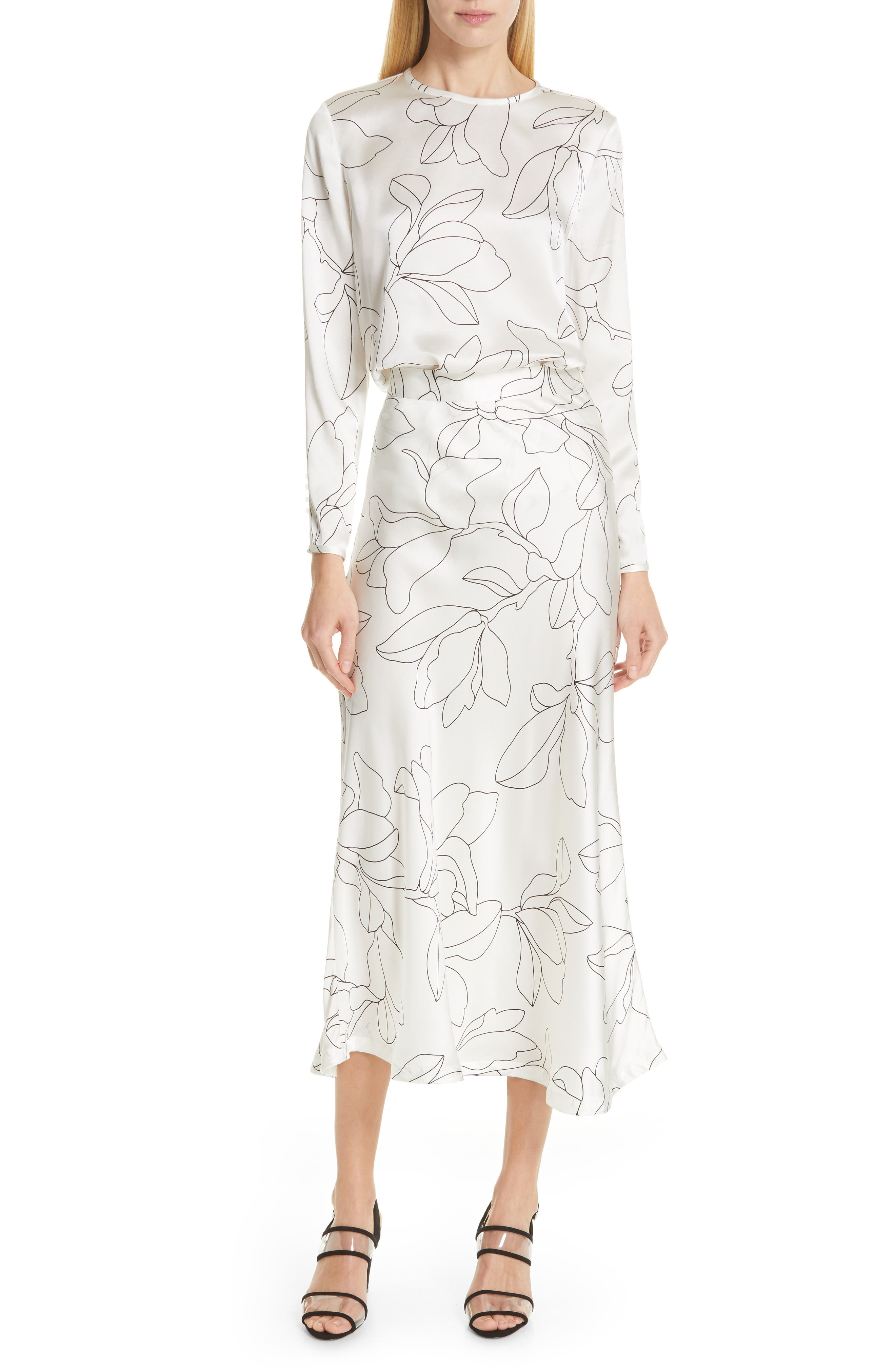 Iva Floral Silk Midi Skirt,                             Alternate thumbnail 7, color,                             NATURAL WHITE TRUE BLACK