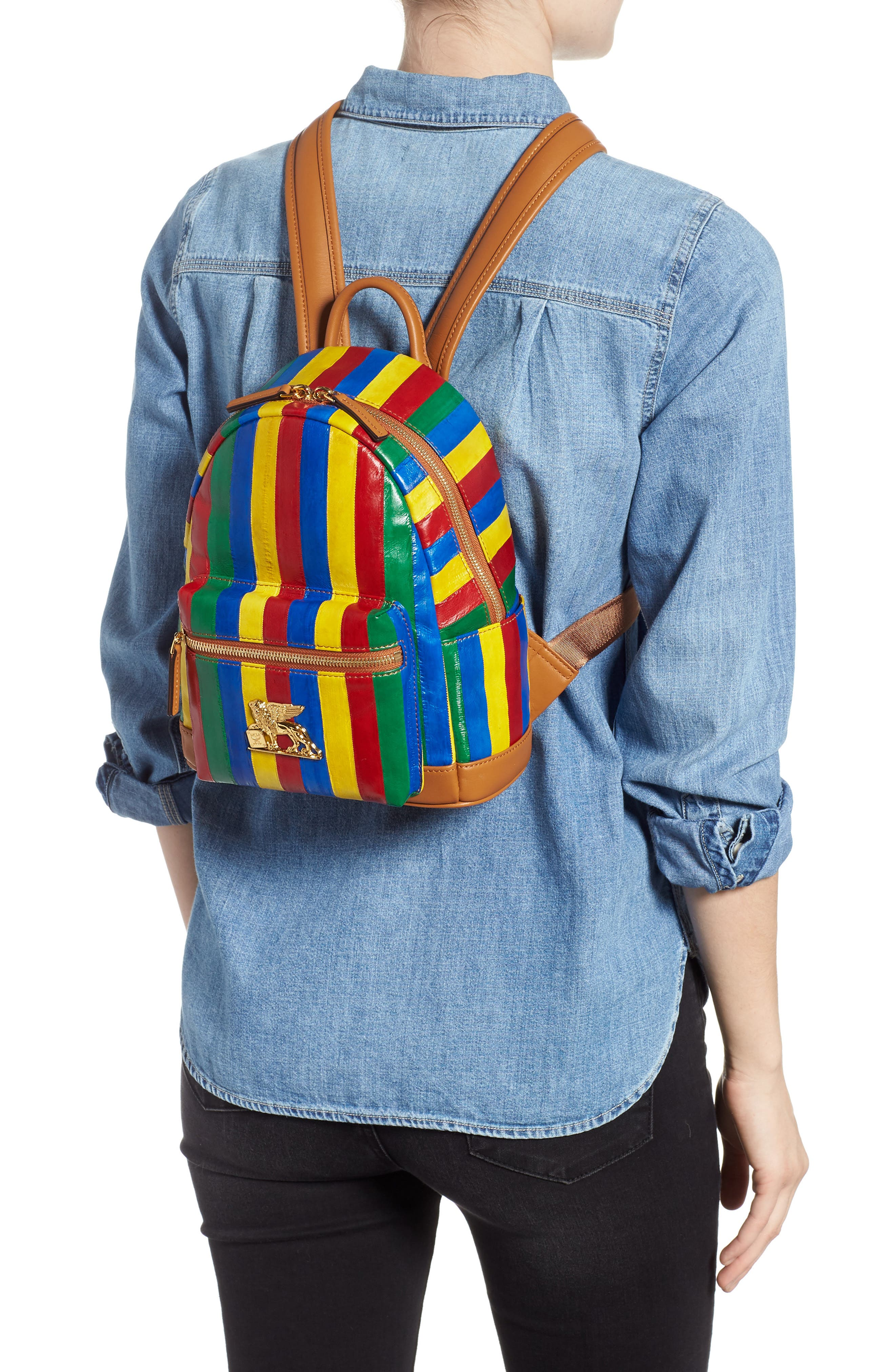Mini Leather Backpack,                             Alternate thumbnail 2, color,                             MULTI