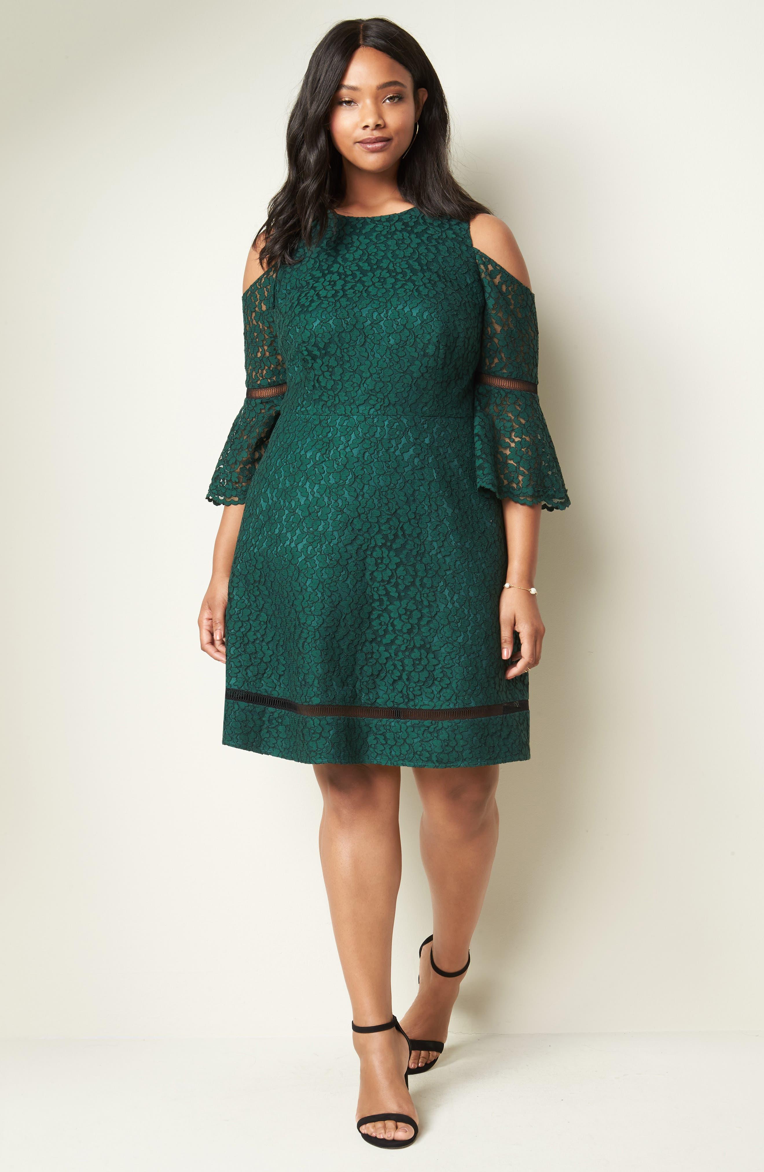 Cold Shoulder Lace Dress,                             Alternate thumbnail 7, color,                             310