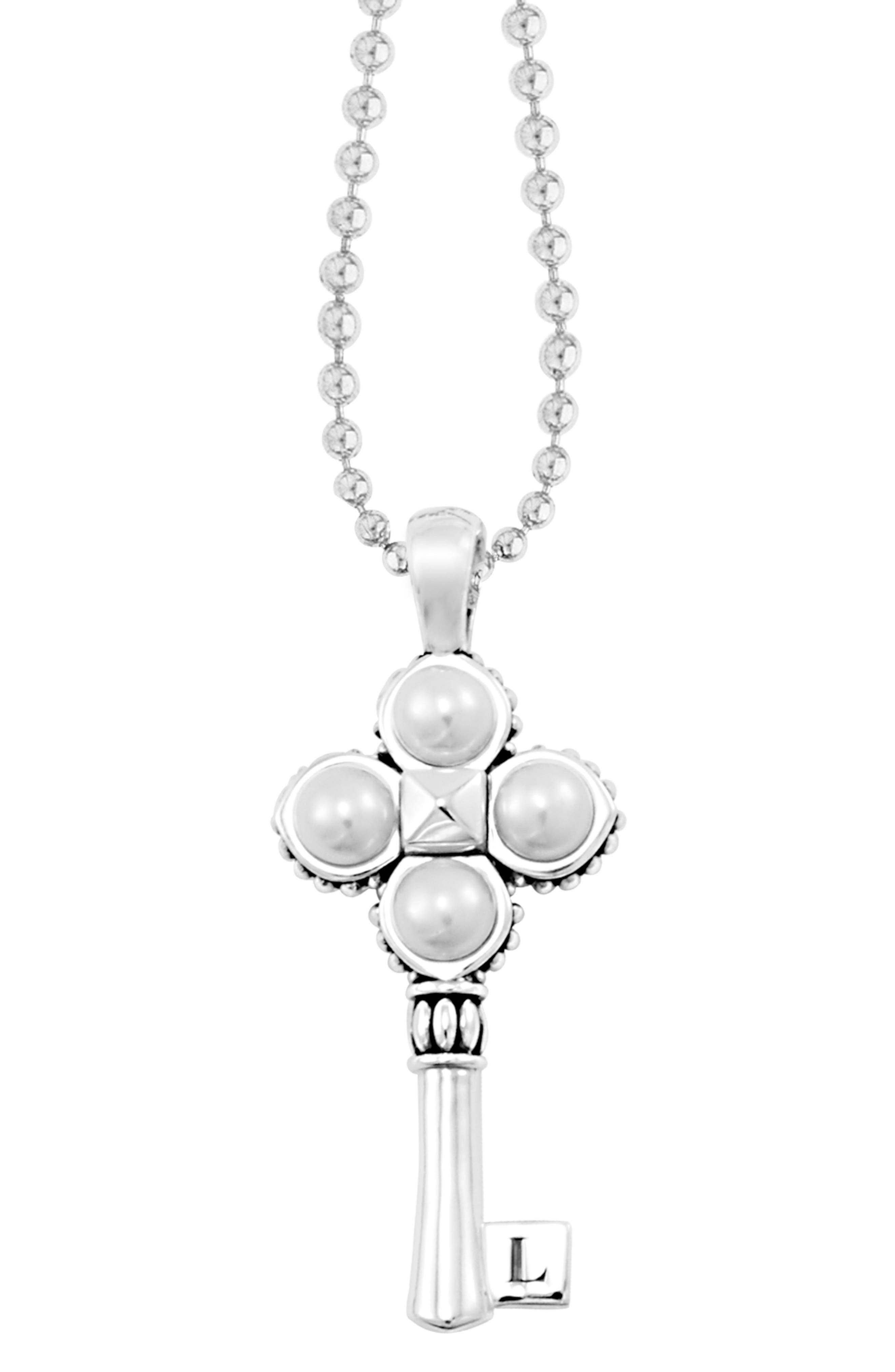 'Luna' Pearl Long Key Pendant Necklace,                             Alternate thumbnail 3, color,                             040