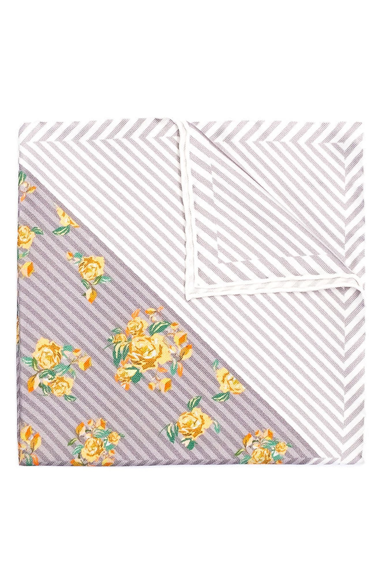 HOOK + ALBERT Atoll Silk Pocket Square, Main, color, 750
