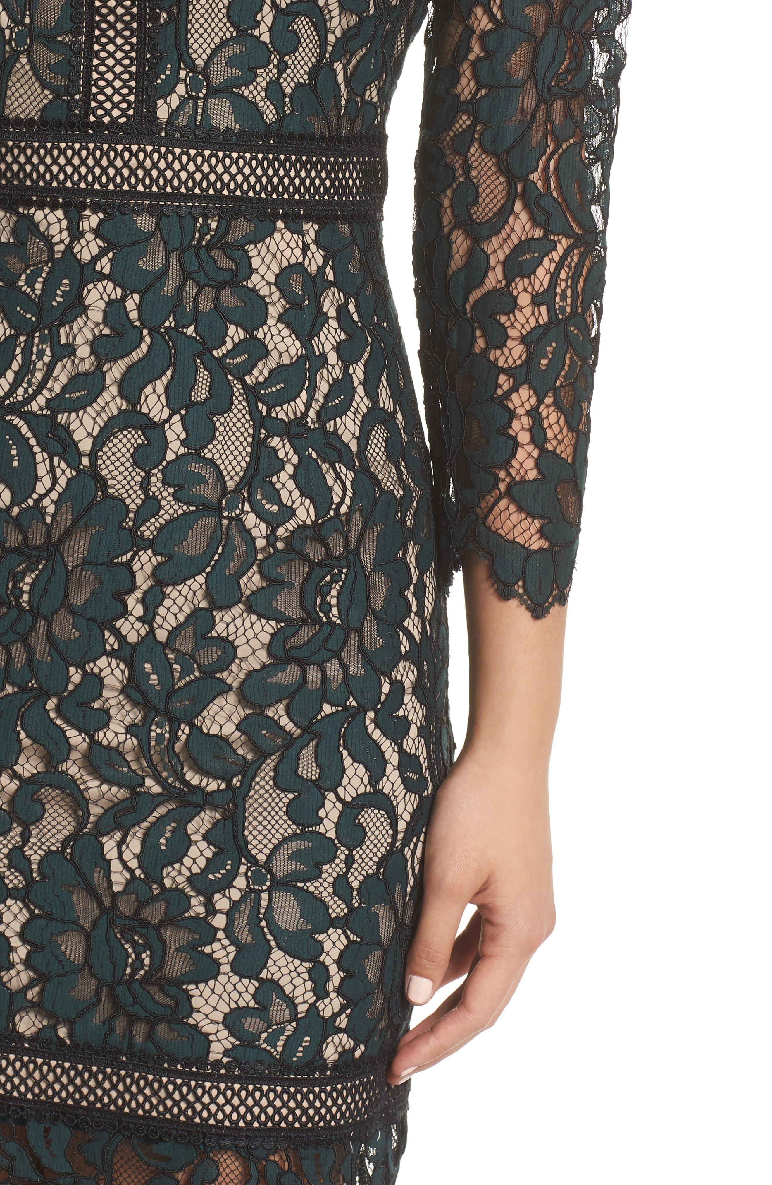 Lace Sheath Dress,                             Alternate thumbnail 4, color,                             GREEN