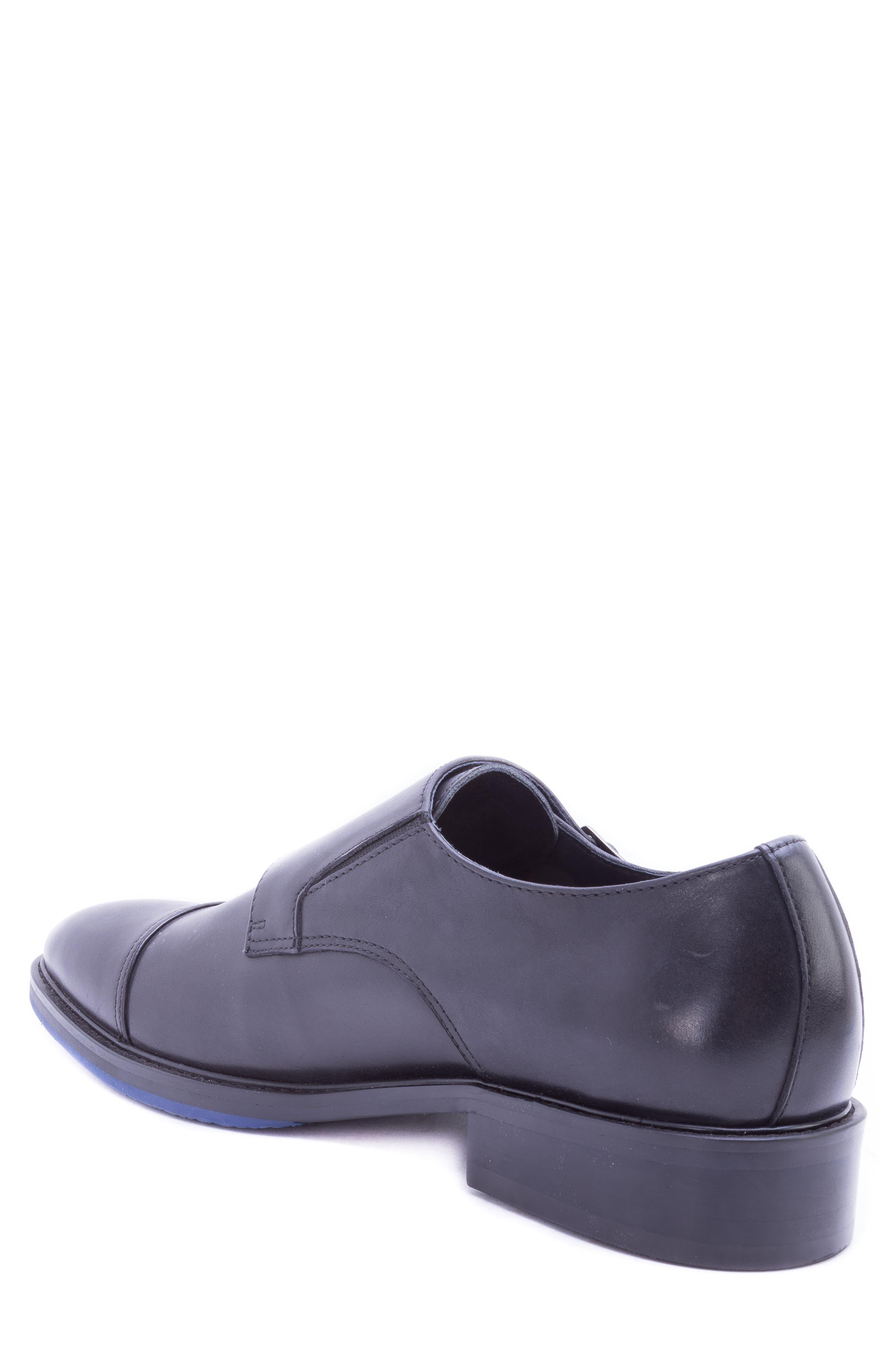 Catlett Double Monk Strap Shoe,                             Alternate thumbnail 2, color,                             BLACK LEATHER