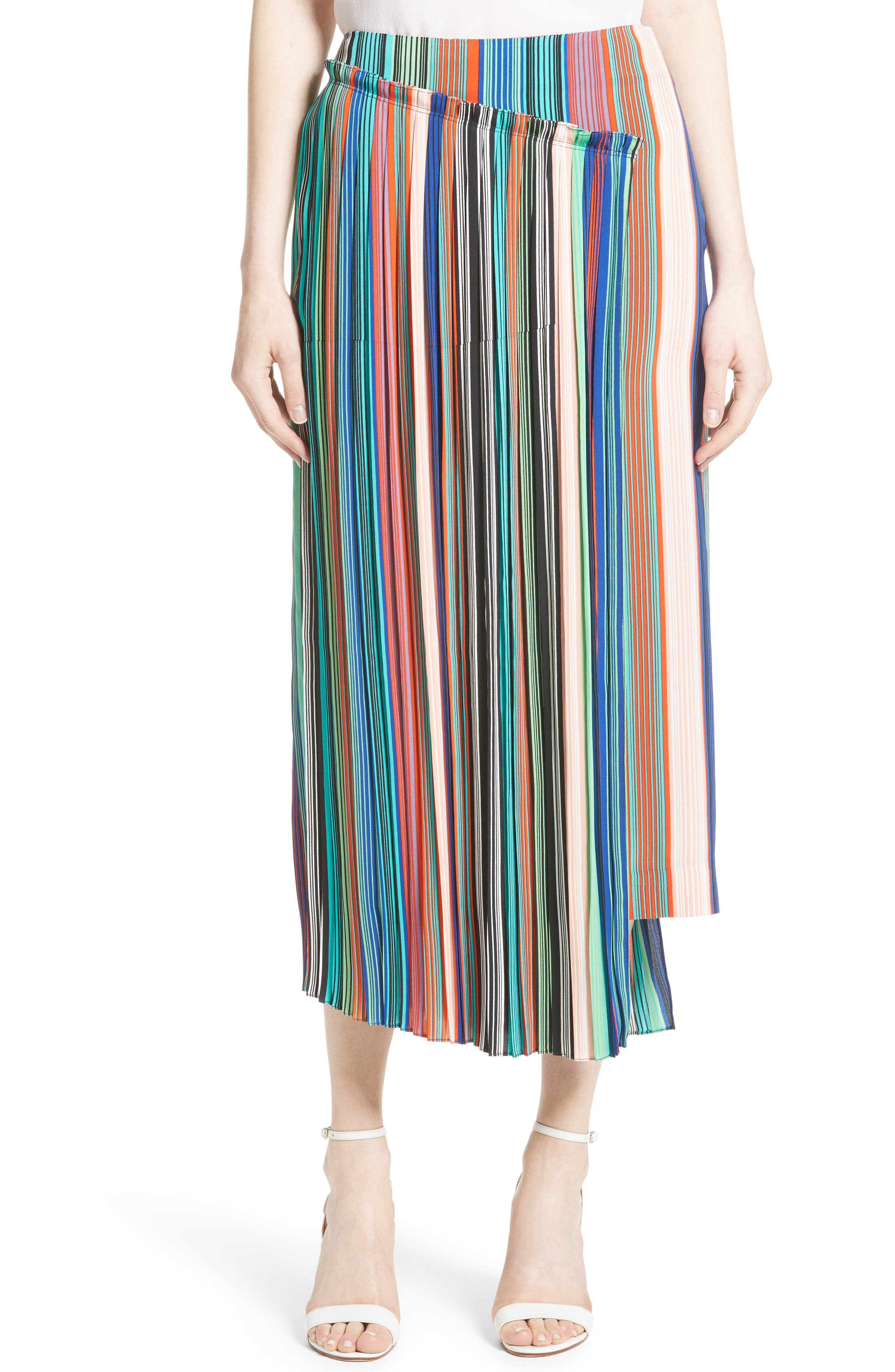 Stripe Asymmetrical Overlay Midi Skirt,                         Main,                         color, 207
