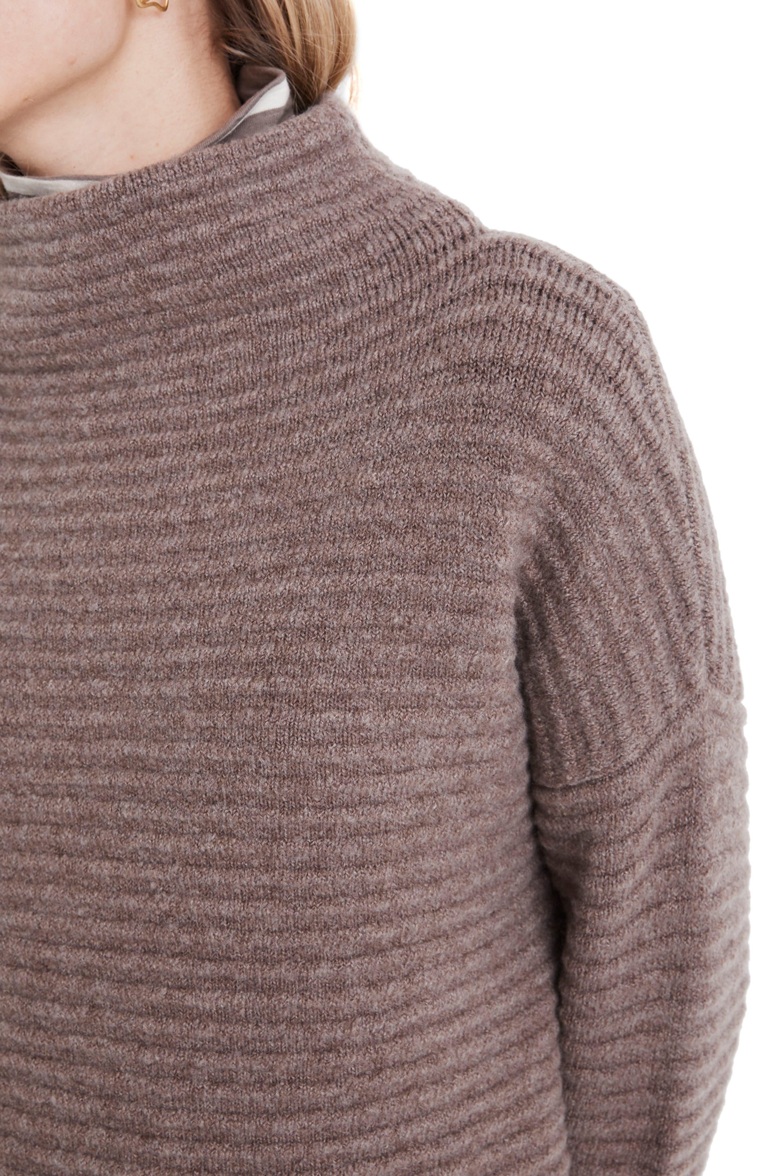 Belmont Mock Neck Sweater,                             Alternate thumbnail 4, color,                             HEATHER ROOT