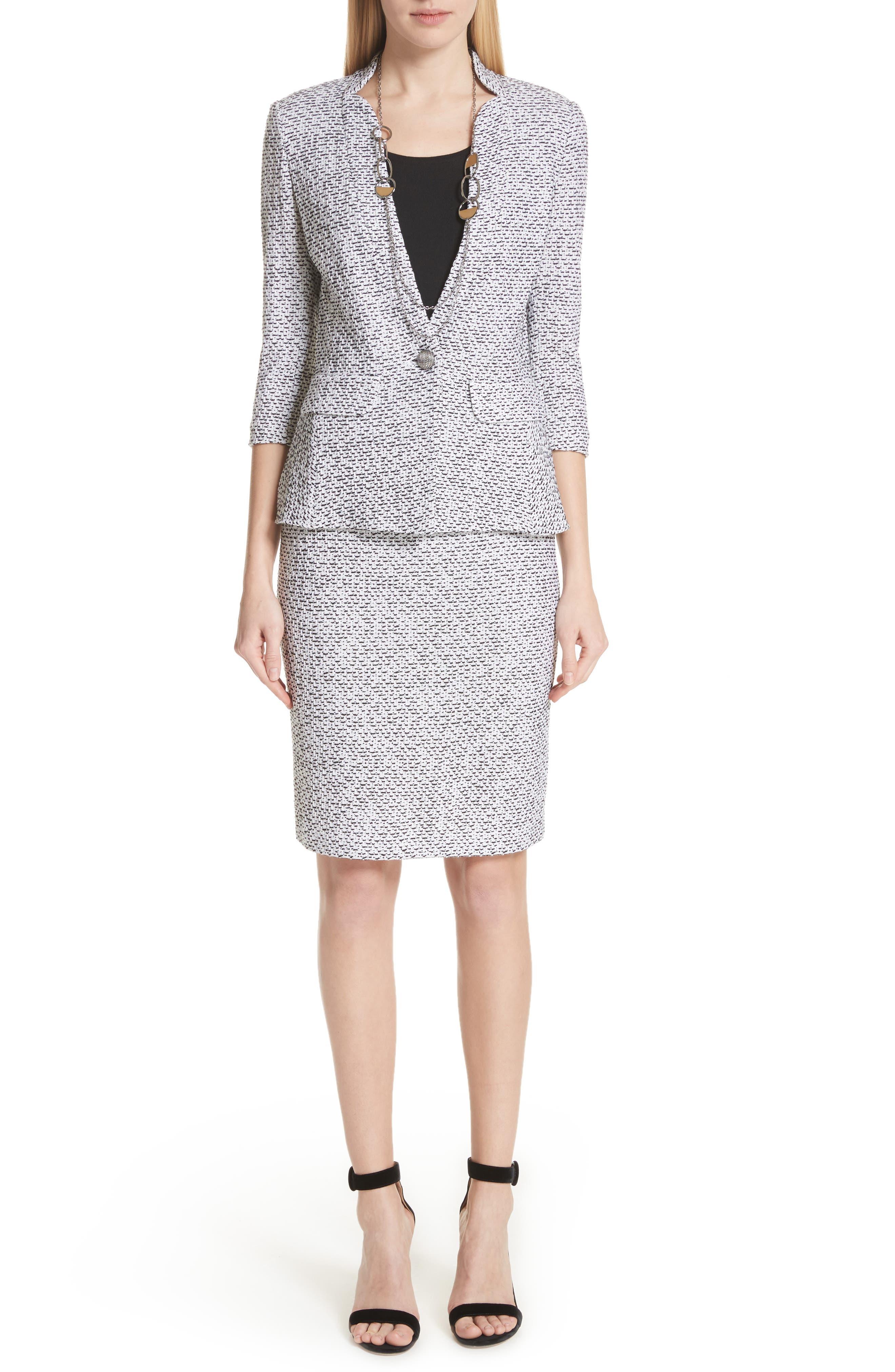 Olivia Bouclé Knit Skirt,                             Alternate thumbnail 8, color,                             WHITE/ CAVIAR
