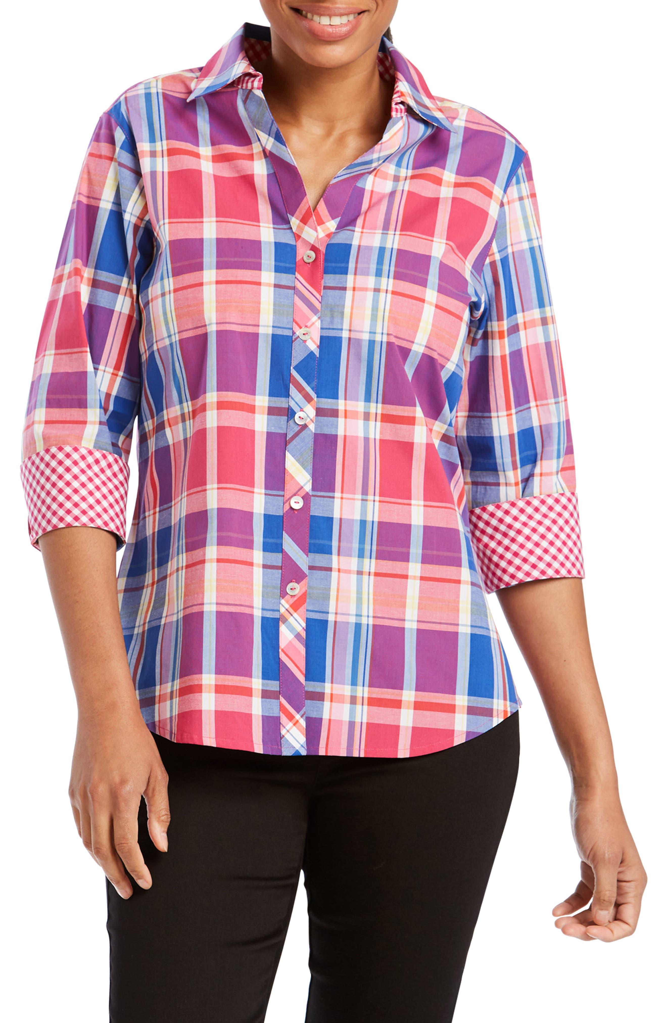 Mary Madras Plaid Shirt,                         Main,                         color, MULTI PLAID