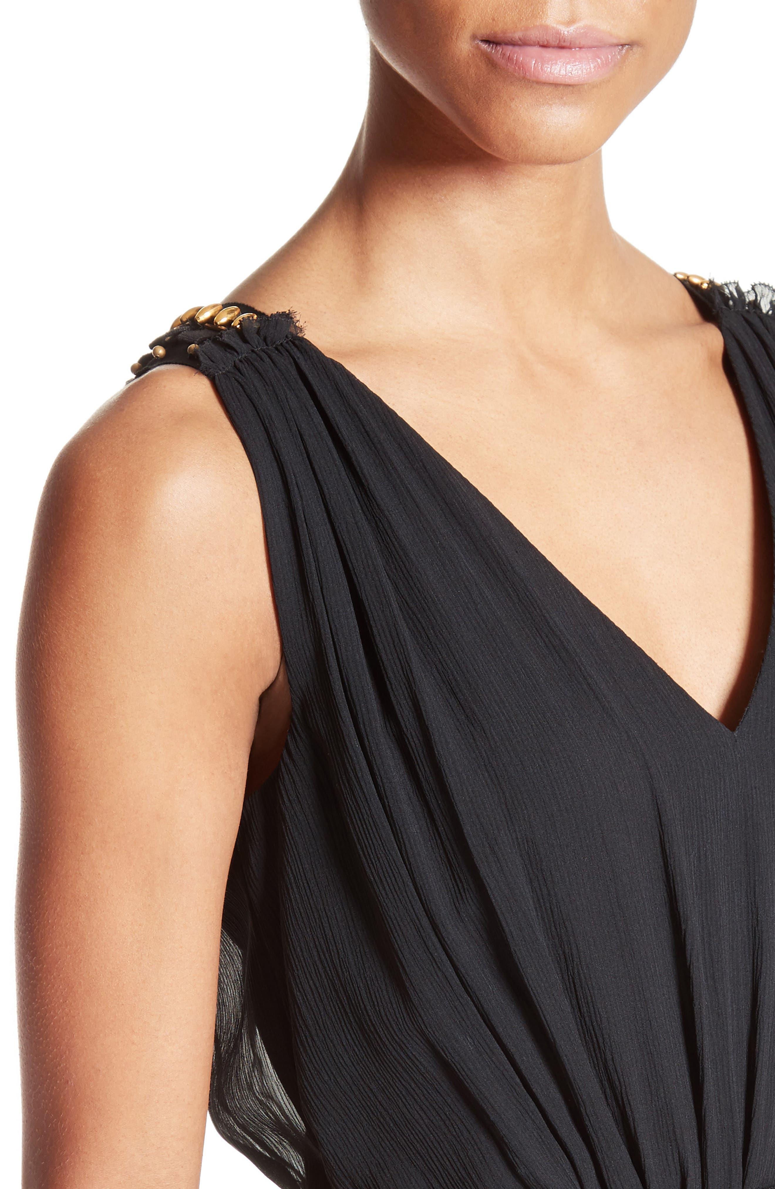 Crinkled Silk Georgette Dress,                             Alternate thumbnail 4, color,                             001