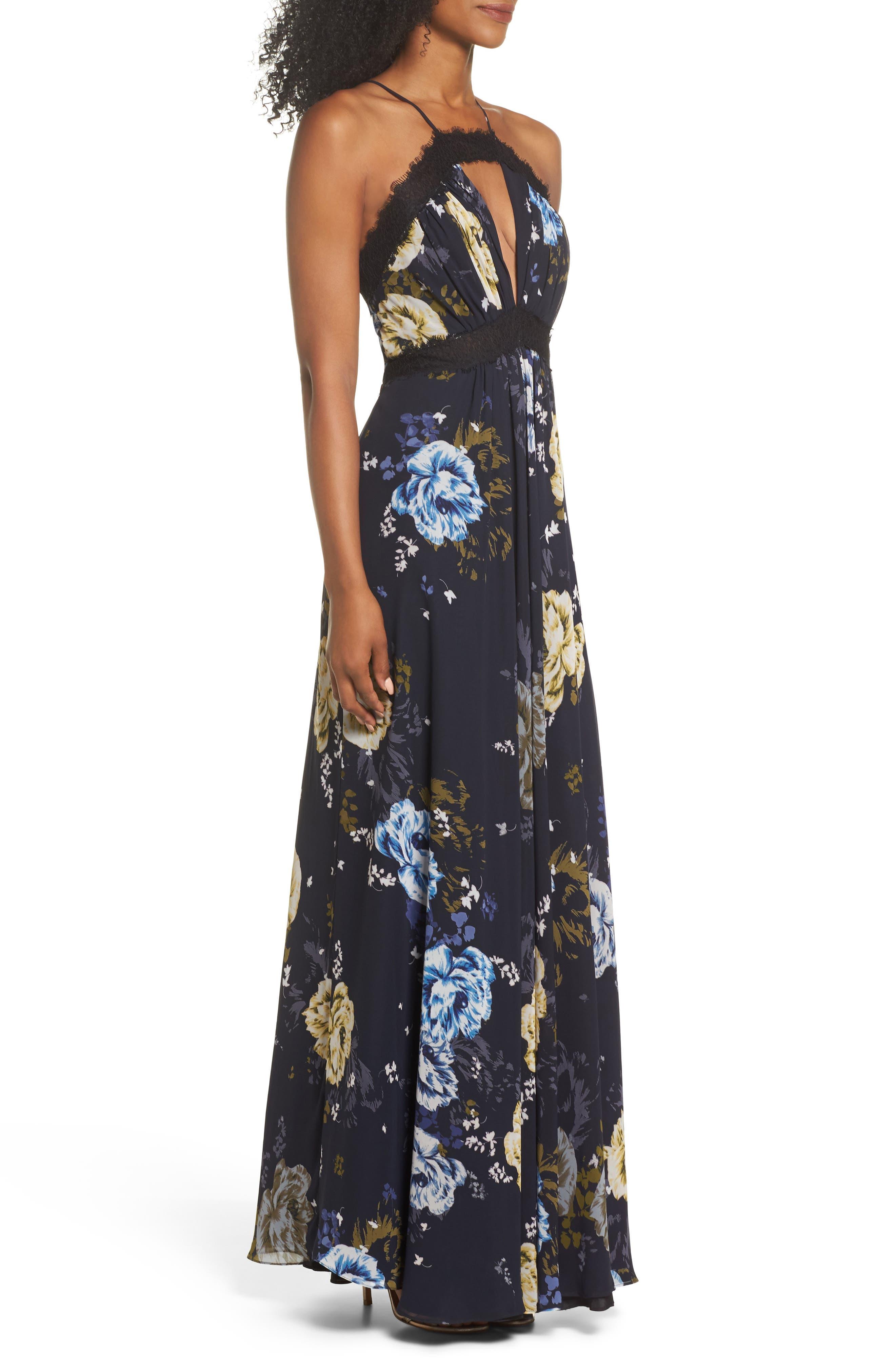 Lace Trim Cutout Gown,                             Alternate thumbnail 3, color,