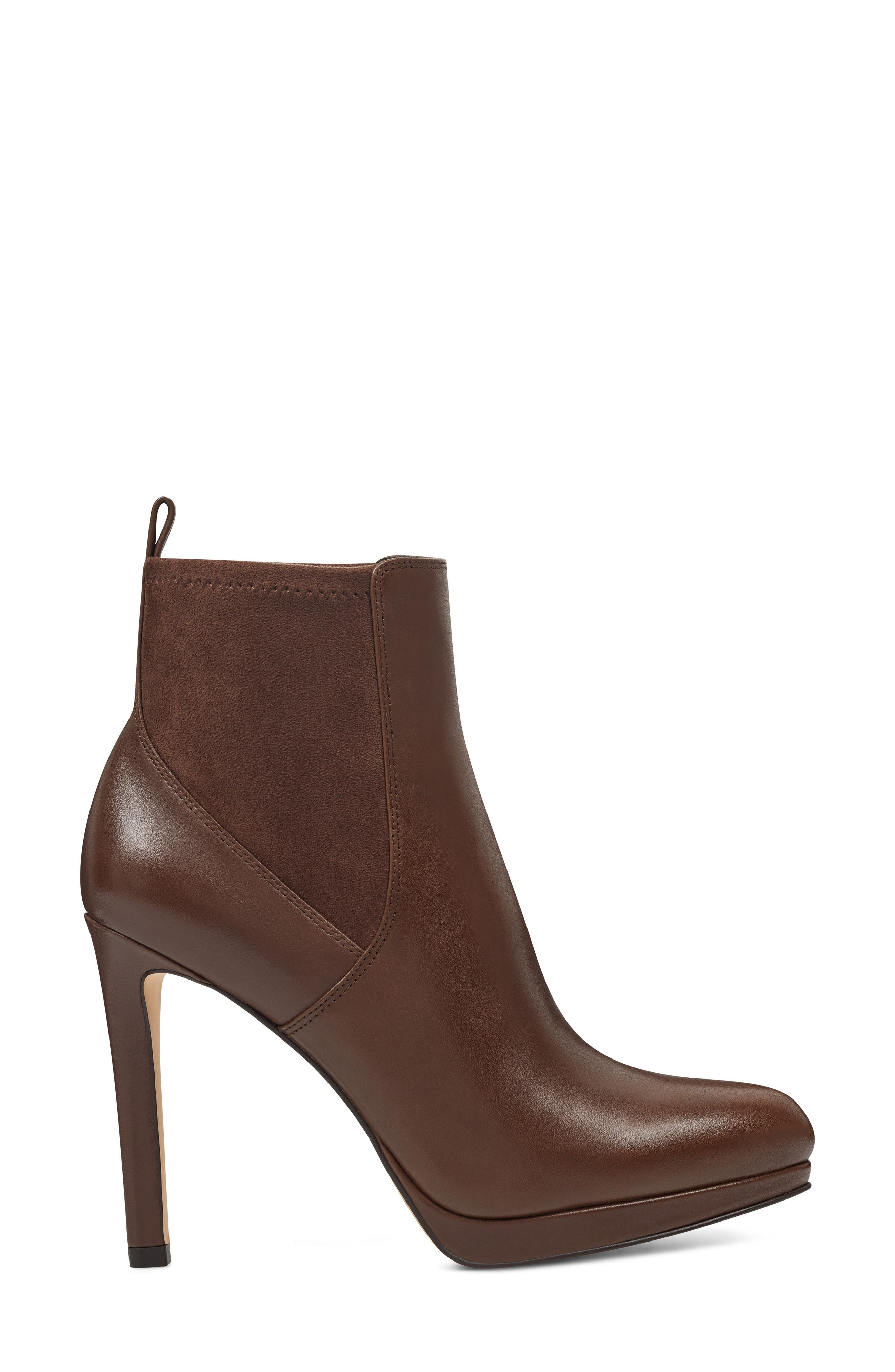 Quillen Stretch Bootie,                             Alternate thumbnail 3, color,                             BROWN LEATHER