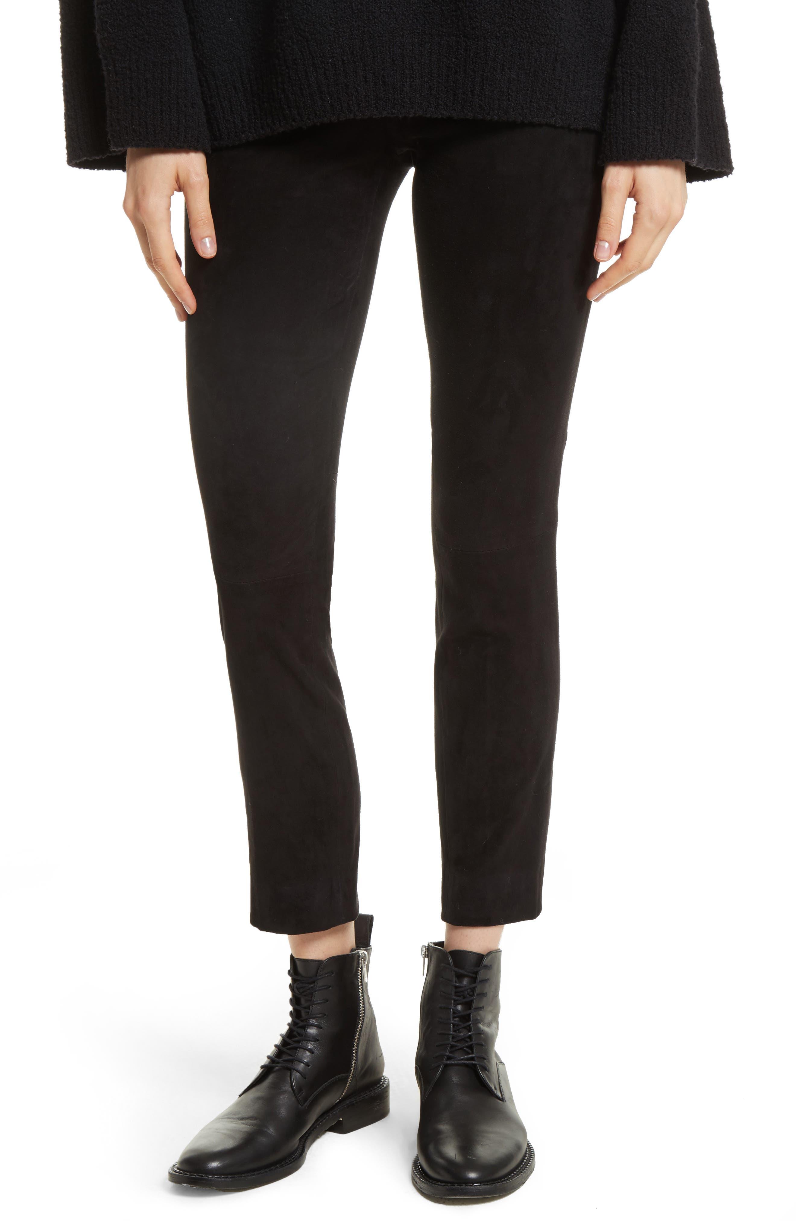 Stretch Suede Crop Pants,                         Main,                         color, 001