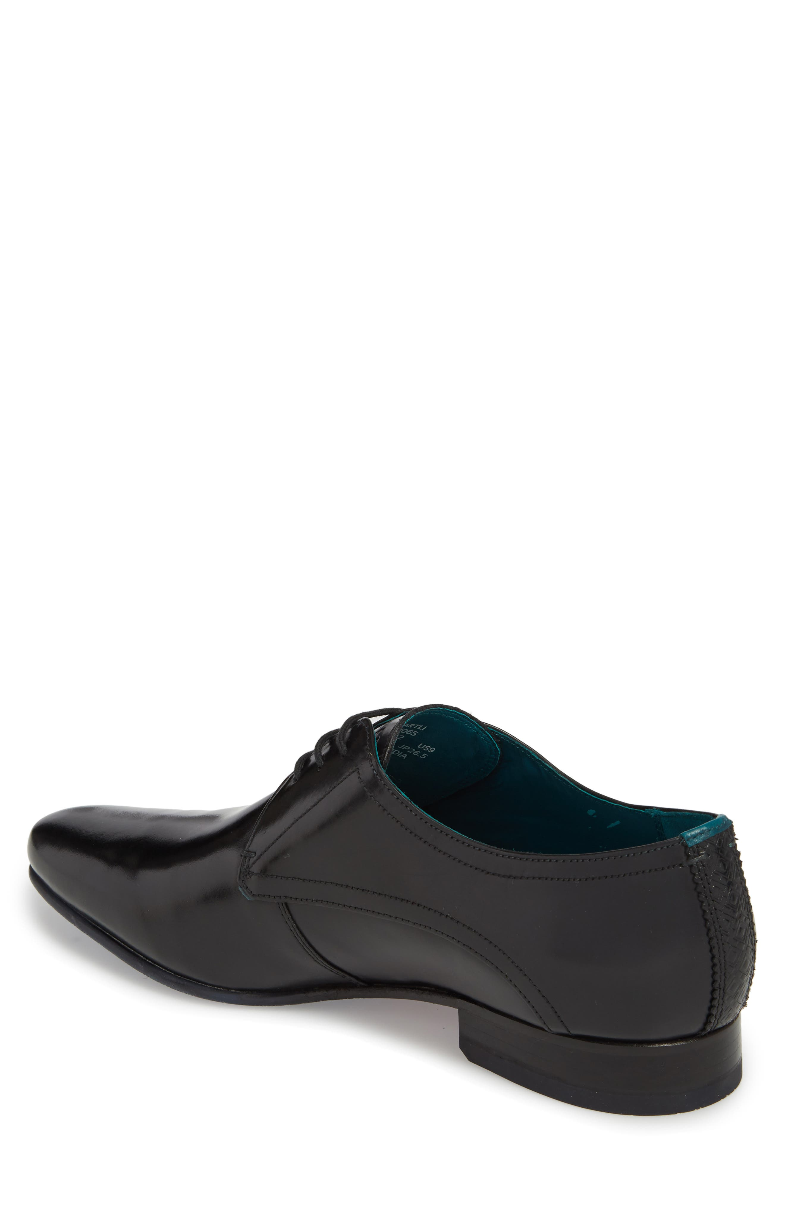 Bhartli Plain Toe Derby,                             Alternate thumbnail 2, color,                             BLACK LEATHER