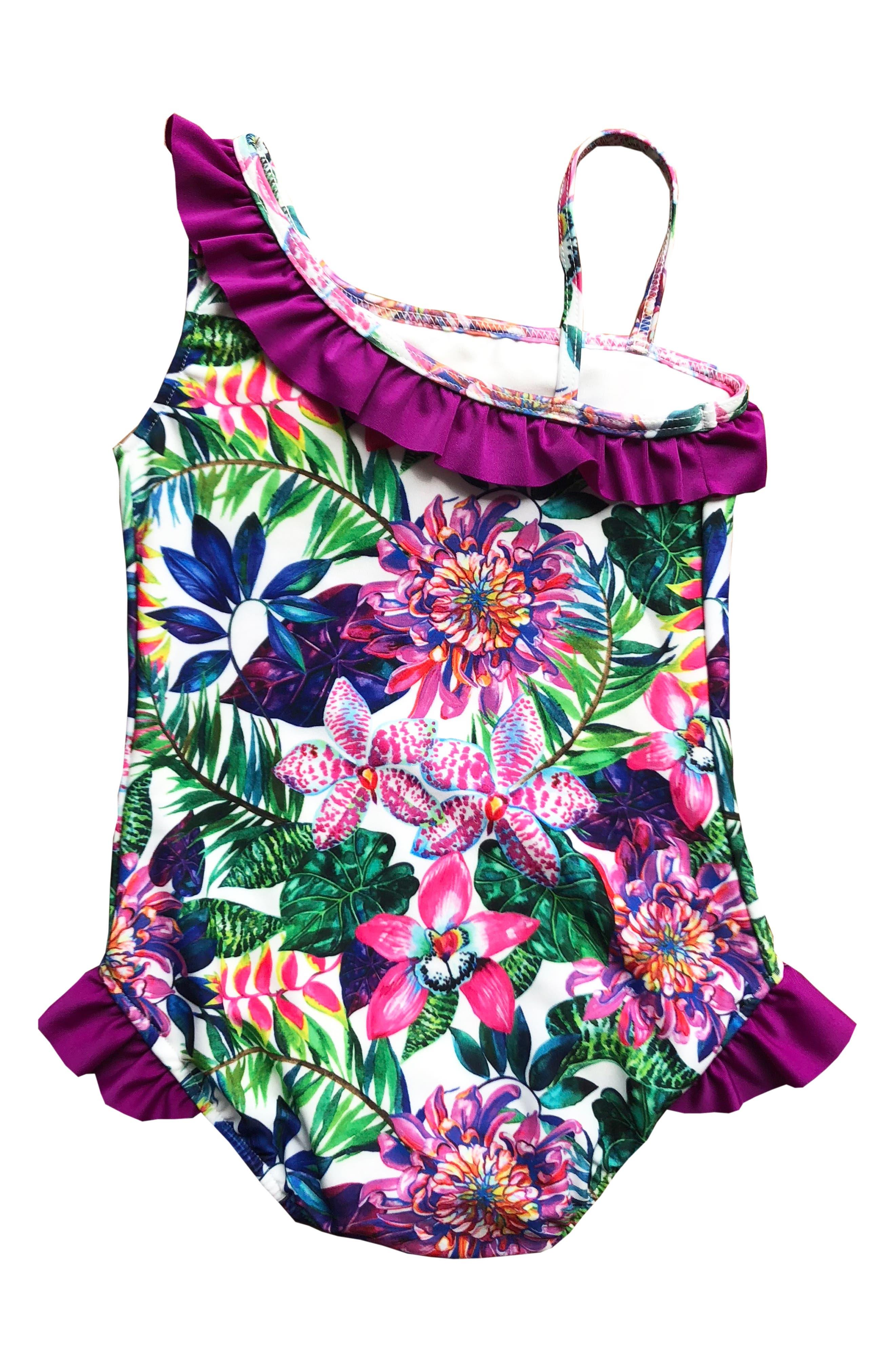 Asymmetrical Ruffle One-Piece Swimsuit,                             Main thumbnail 6, color,