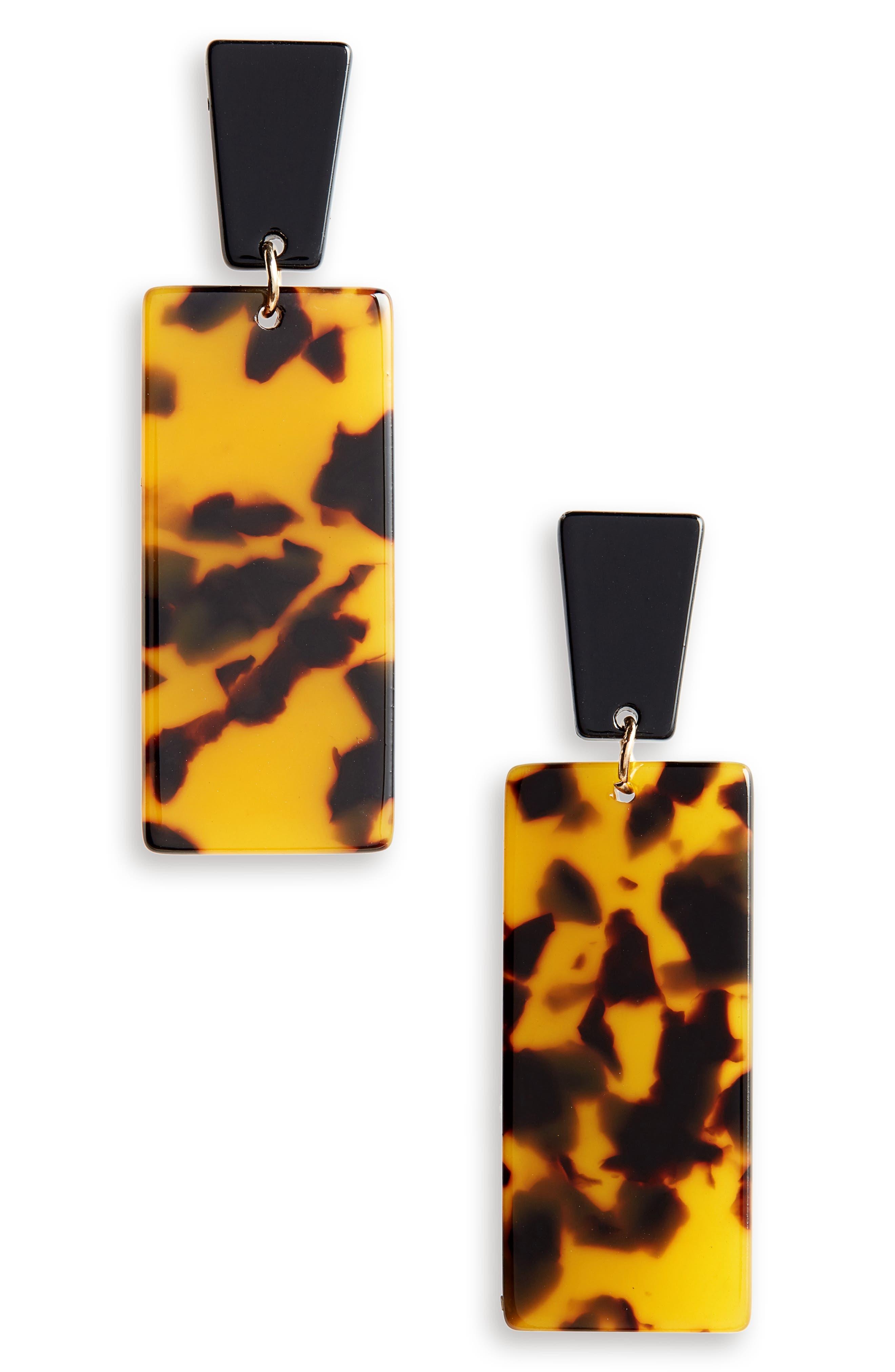 Resin Linear Drop Earrings,                             Main thumbnail 1, color,                             001