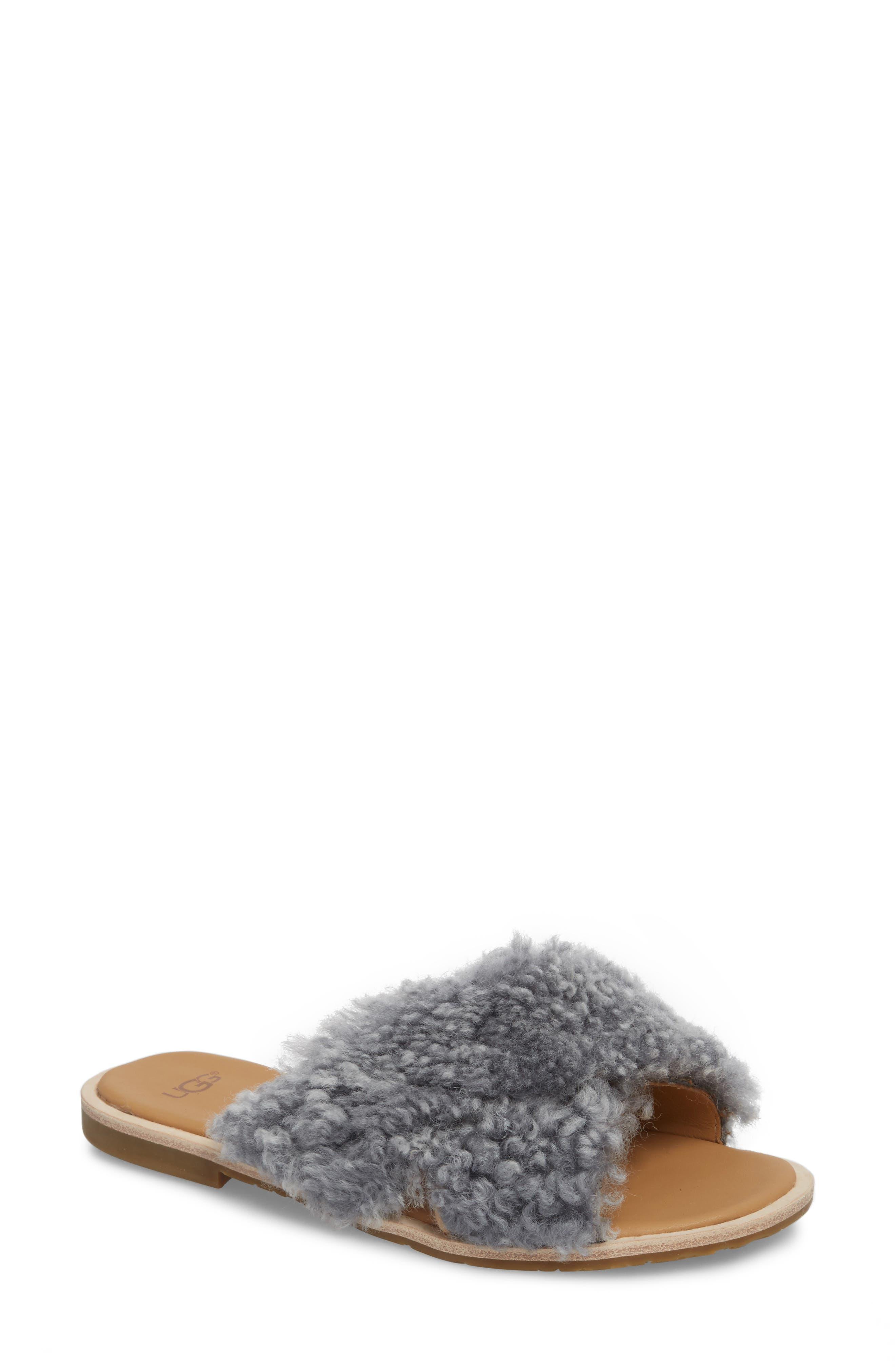 Joni Genuine Shearling Slide Sandal,                         Main,                         color, LUDE GREY