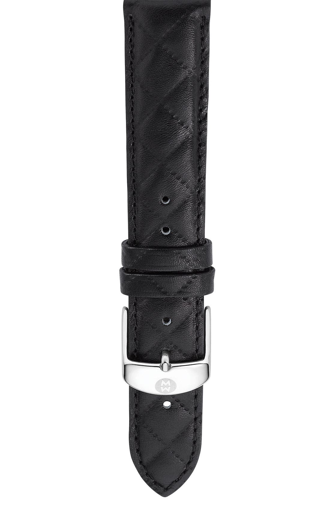 18mm Quilted Leather Watch Strap,                         Main,                         color,